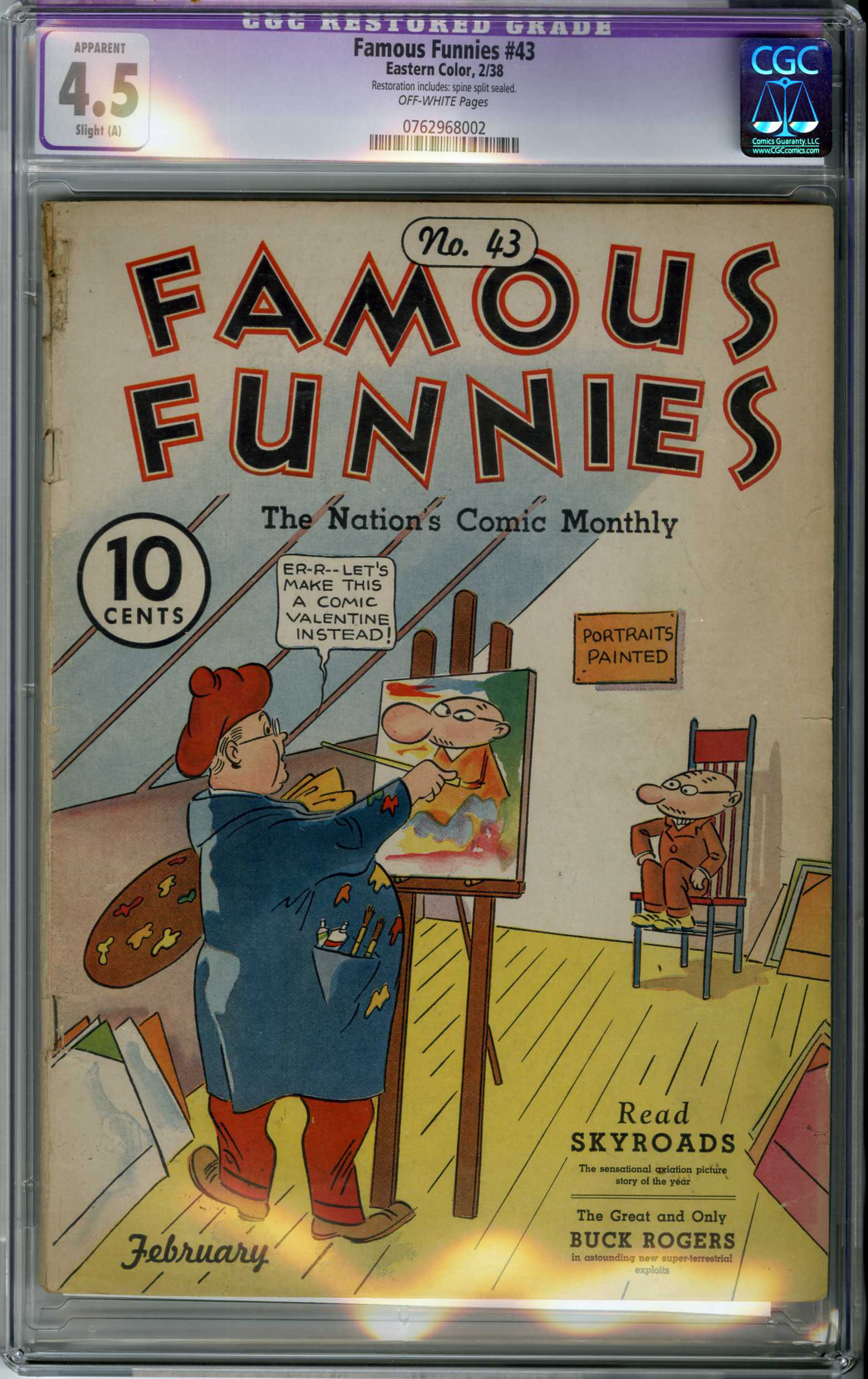 FAMOUS FUNNIES #43 (1938) CGC APPARENT VG+ 4.5 OW Pages / BUCK ROGERS