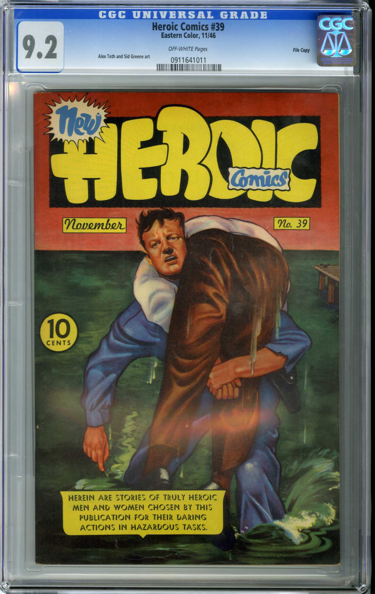 HEROIC COMICS #39 (1946) CGC NM- 9.2 OW Pages / FILE COPY / ALEX TOTH ART