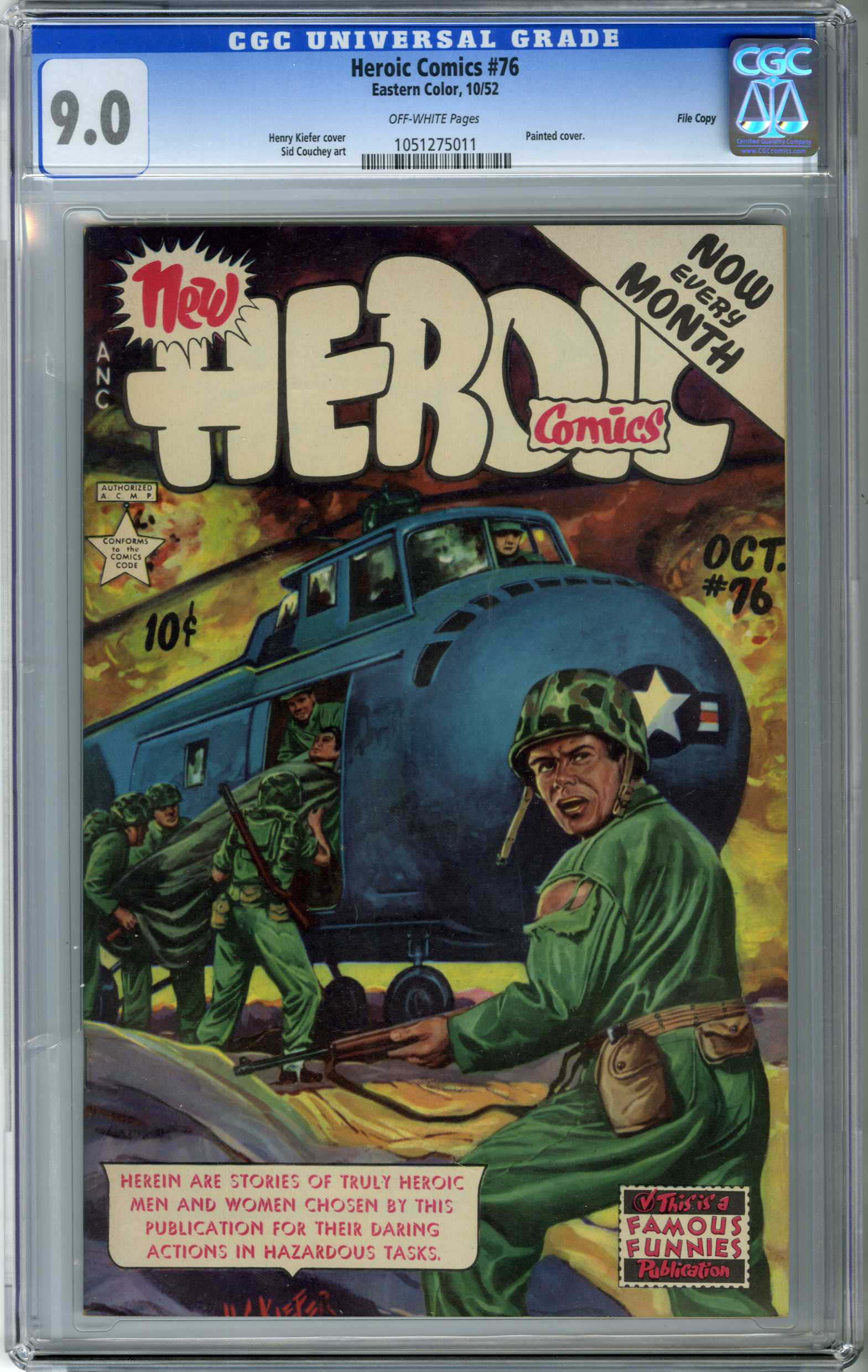HEROIC COMICS #76 (1952) CGC VF/NM 9.0 OW Pages / FILE COPY / H.C. KIEFER COVER