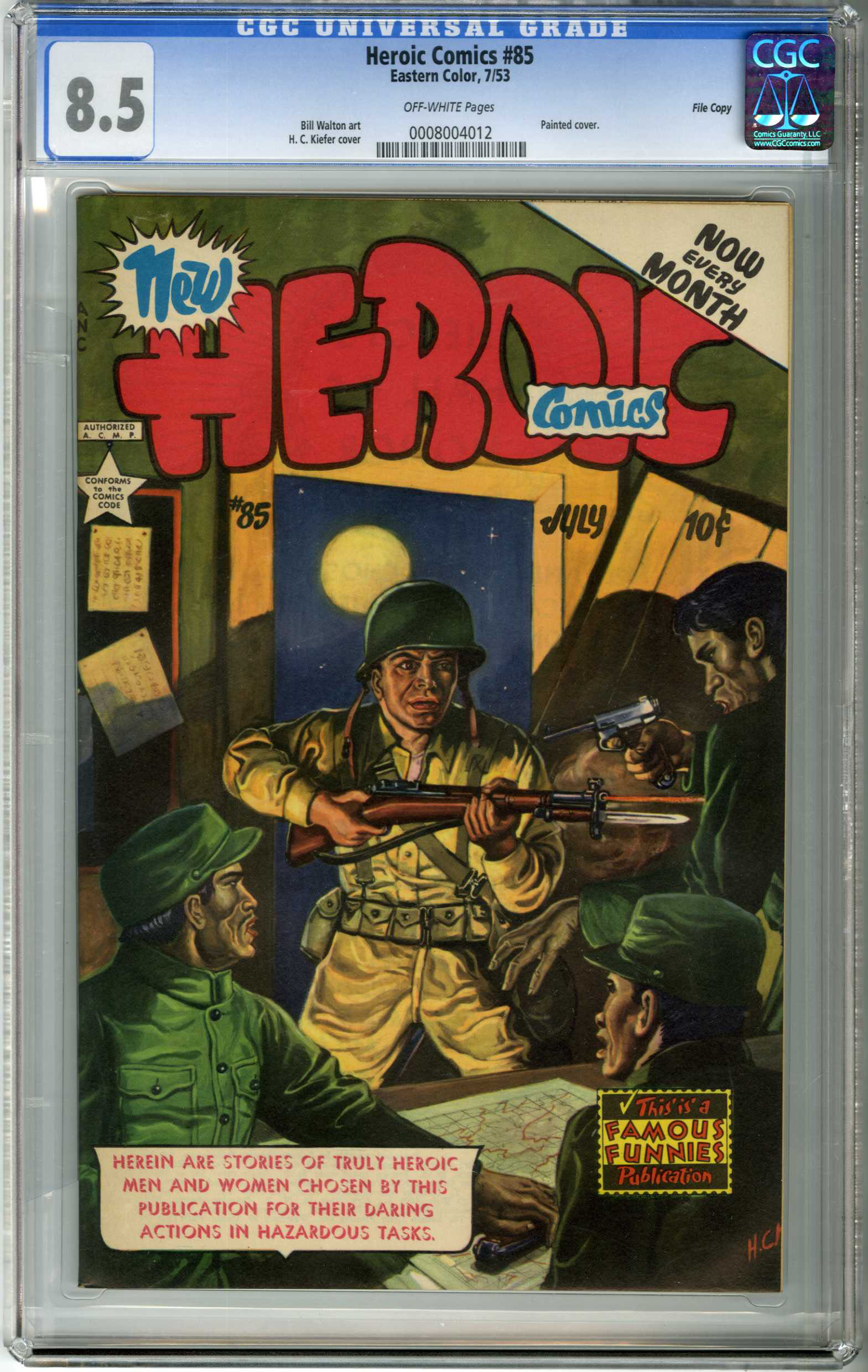 HEROIC COMICS #85 (1953) CGC VF+ 8.5 OW Pages / FILE COPY / H.C. KIEFER COVER
