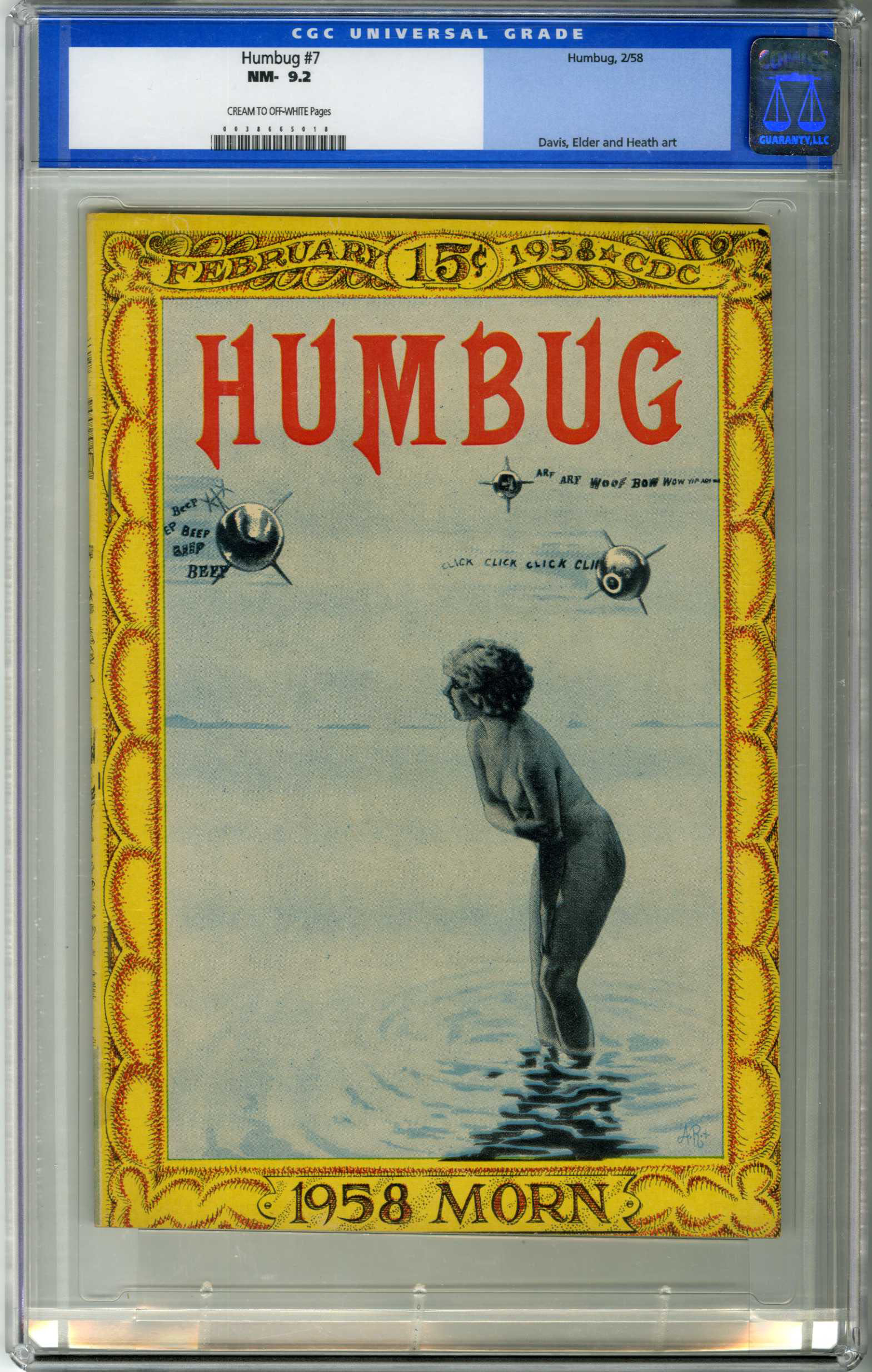 HUMBUG #7 (1958) CGC NM- 9.2 COW Pages / DAVIS, ELDER, HEATH ART