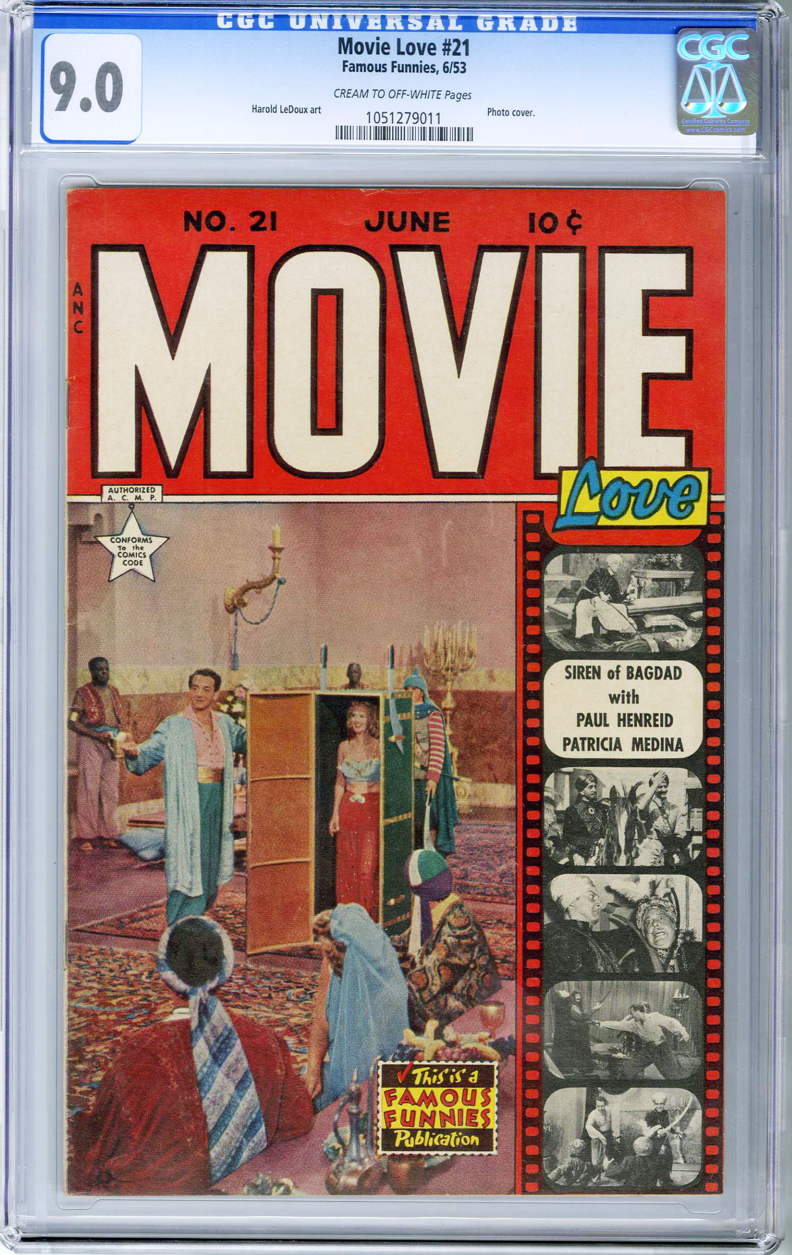 MOVIE LOVE #21 (1953) CGC VF/NM 9.0 COW Pages PHOTO COVER