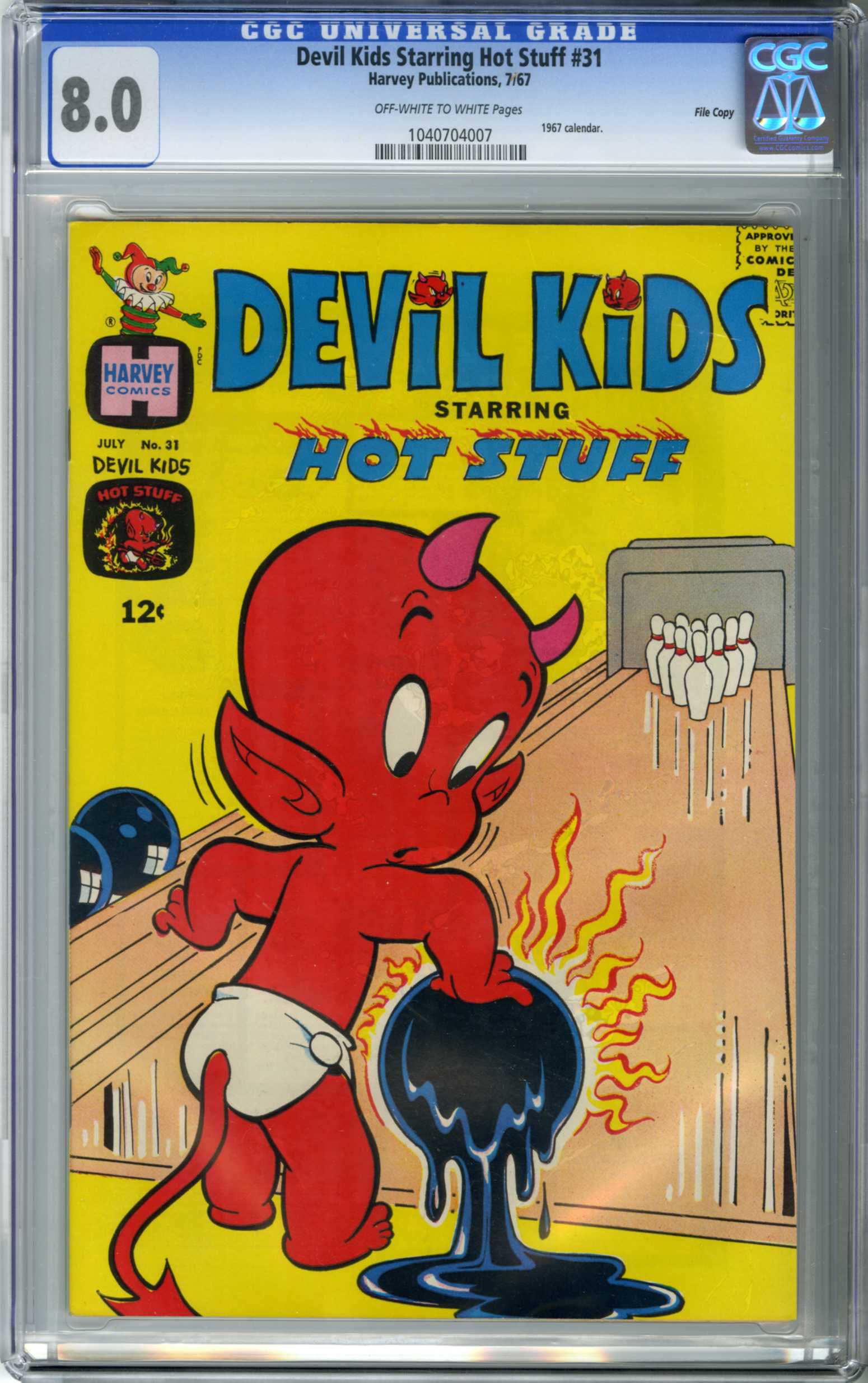 DEVIL KIDS STARRING HOT STUFF #31 (1967) CGC VF 8.0 OWW Pages FILE COPY/CALENDAR