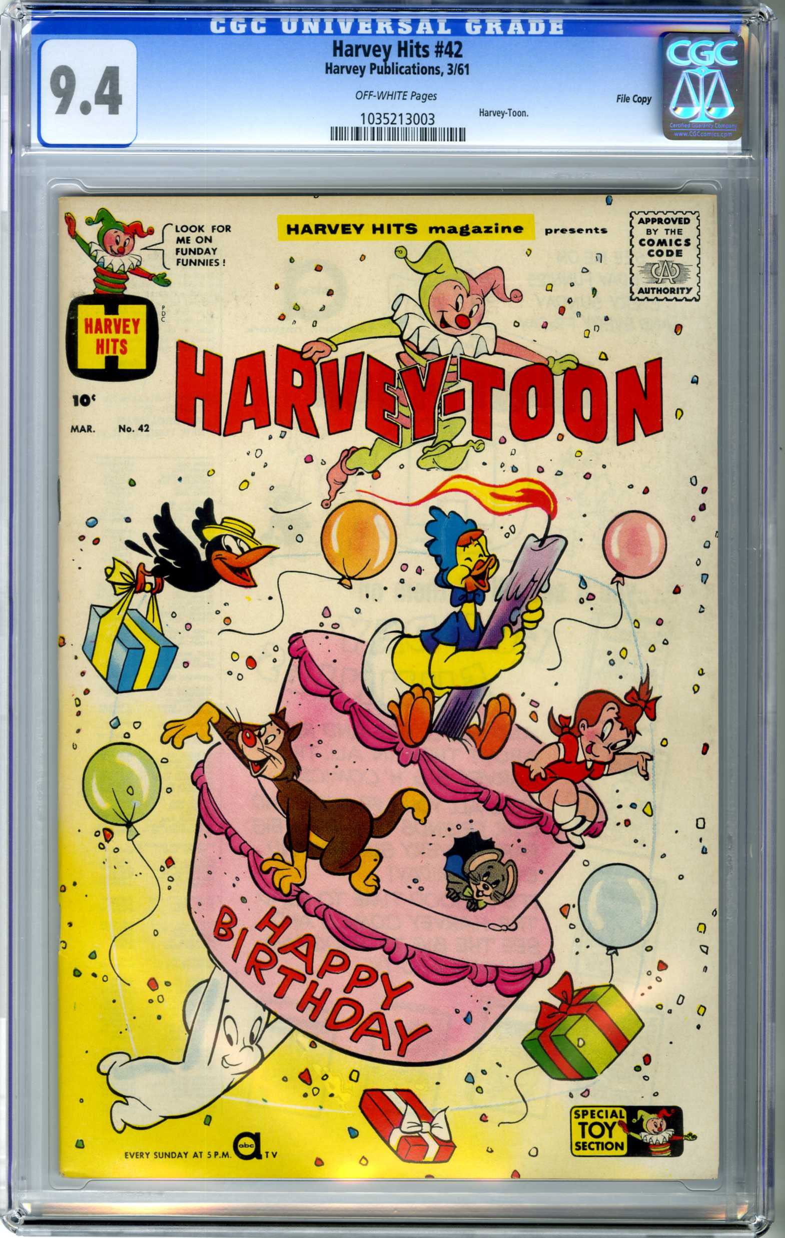 HARVEY HITS #42 (1961) CGC NM 9.4 OW Pages FILE COPY / HARVEY-TOON / CASPER