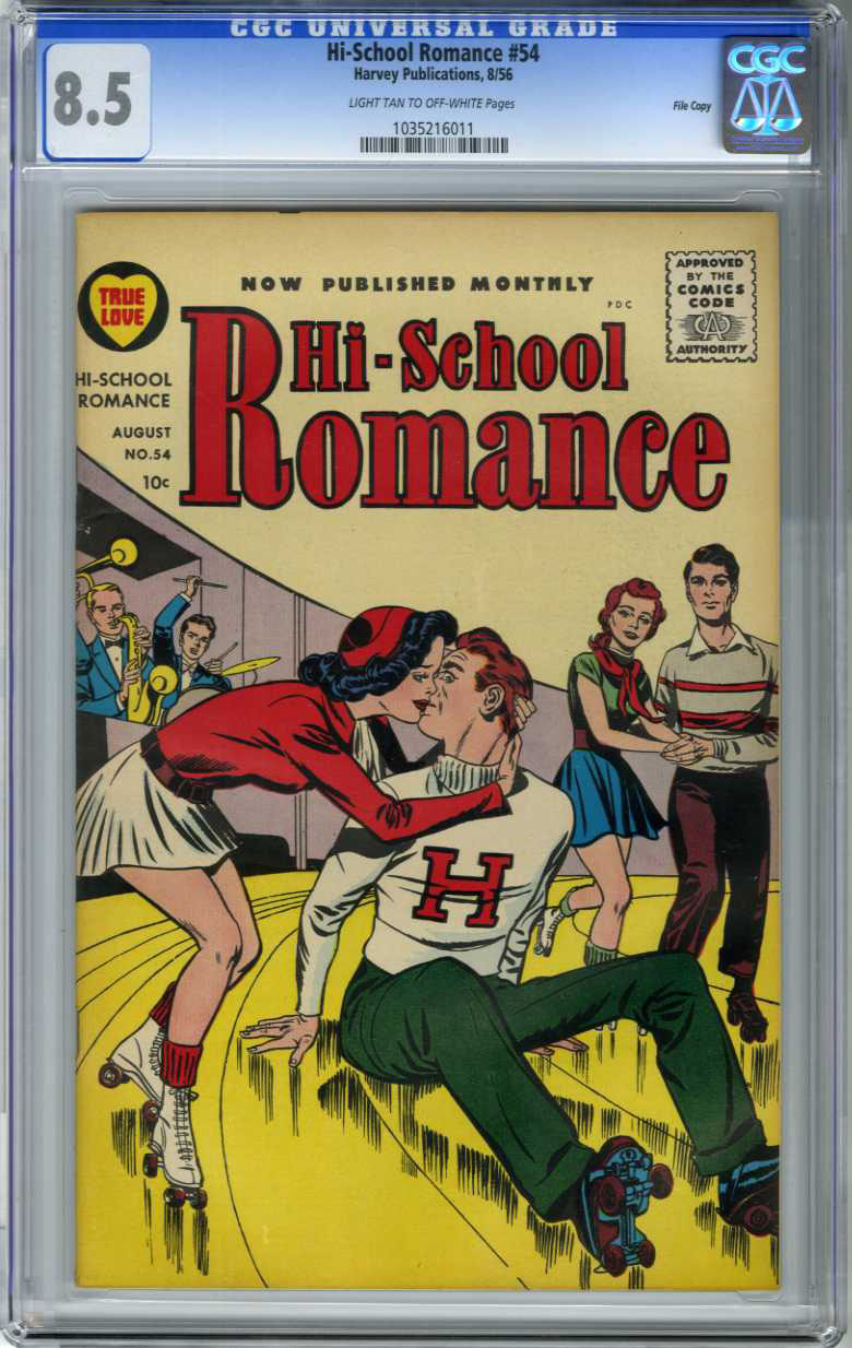 HI-SCHOOL ROMANCE #54 (1956) CGC VF+ 8.5 LTOW Pages FILE/KIRBY COVER/ONLY GRADED