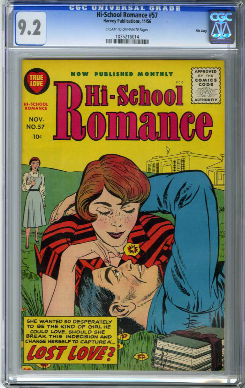 HI-SCHOOL ROMANCE #57 (1956) CGC NM- 9.2 COW Pages FILE COPY / KIRBY COVER