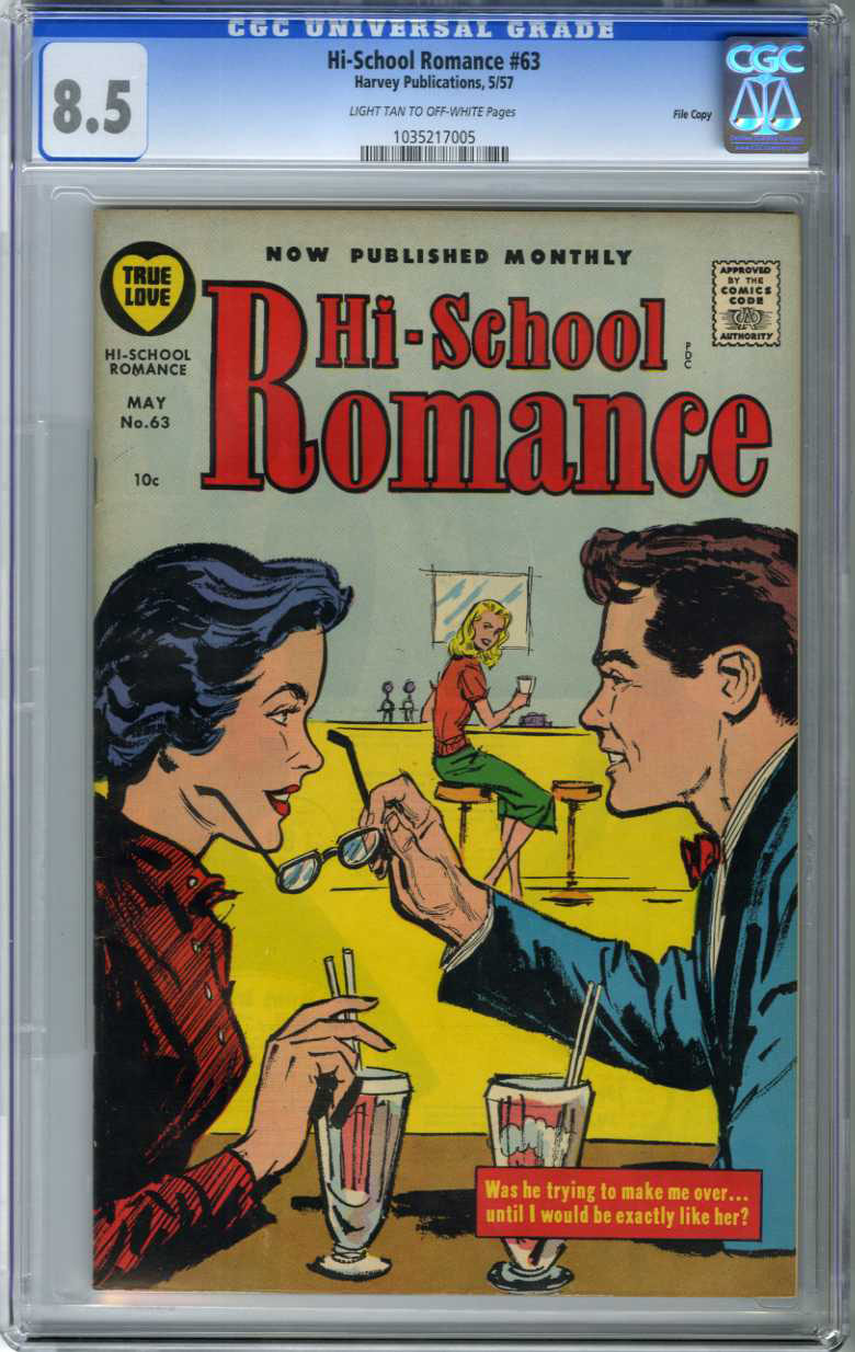 HI-SCHOOL ROMANCE #63 (1957) CGC VF+ 8.5 LTOW Pages FILE COPY / ONLY GRADED COPY