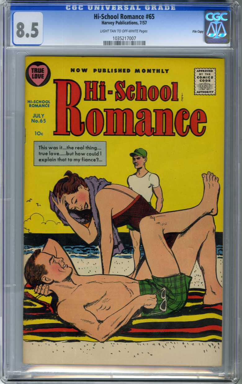 HI-SCHOOL ROMANCE #65 (1957) CGC VF+ 8.5 LTOW Pages FILE COPY / ONLY GRADED COPY