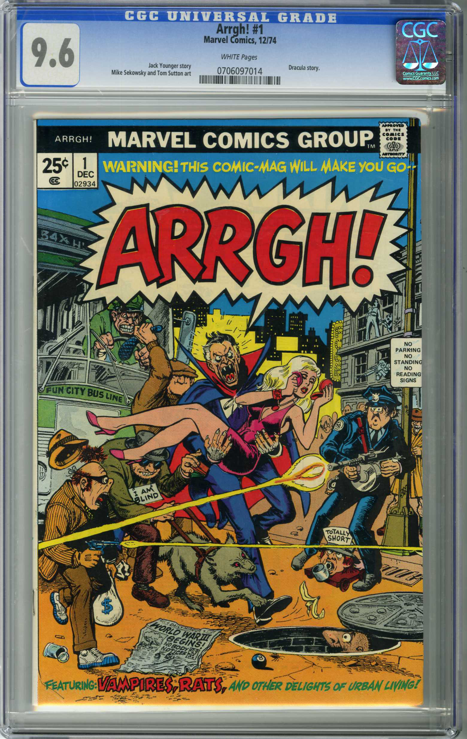 ARRGH! #1 (1974) CGC NM+ 9.6 WHITE Pages ORIGIN / DRACULA COVER AND STORY