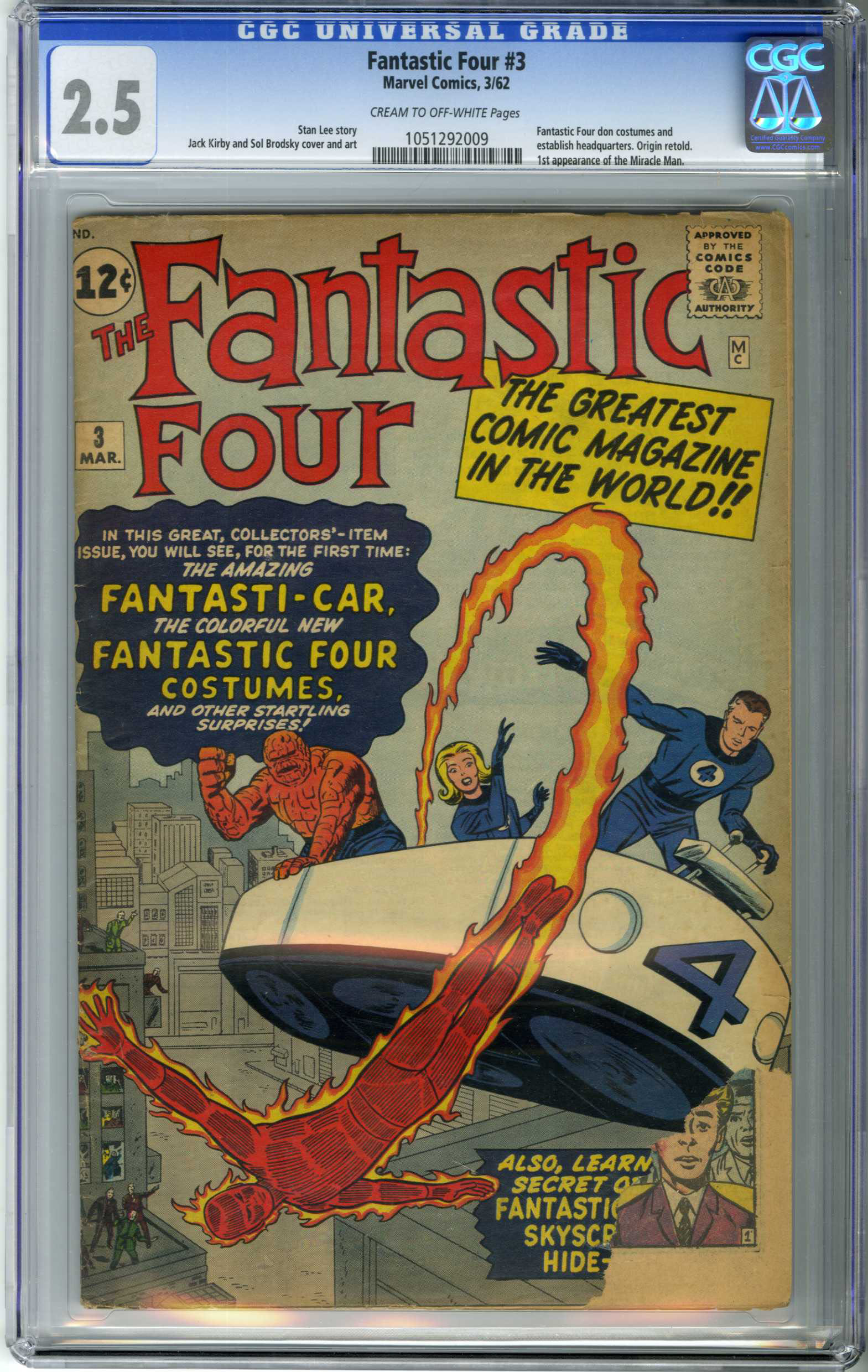 FANTASTIC FOUR #3 (1962) CGC GD+ 2.5 COW Pages / ORIGIN RE-TOLD / 1st IN COSTUME