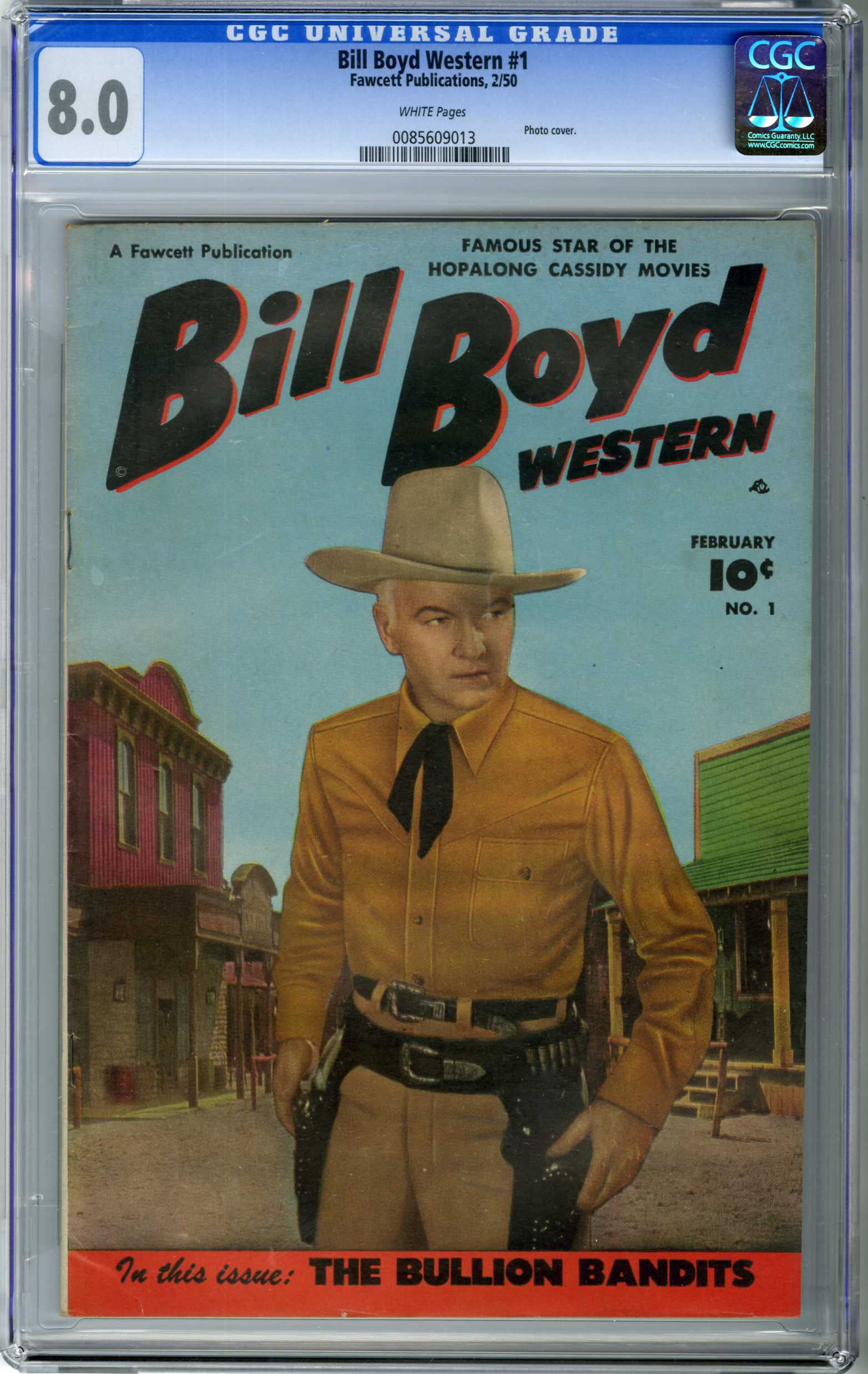 BILLY BOYD WESTERN #1 (1950) CGC VF 8.0 WHITE Pages / PHOTO COVER