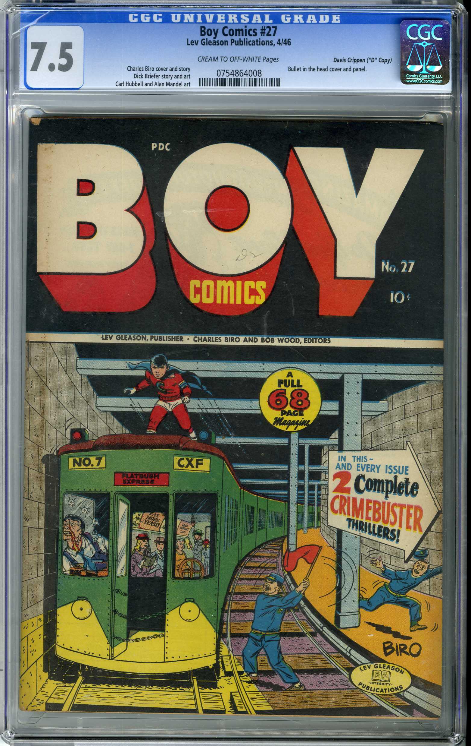 "BOY COMICS #27 (1946) CGC VF- 7.5 COW DAVIS CRIPPEN ""D"" COPY/ BULLET IN HEAD COVER"