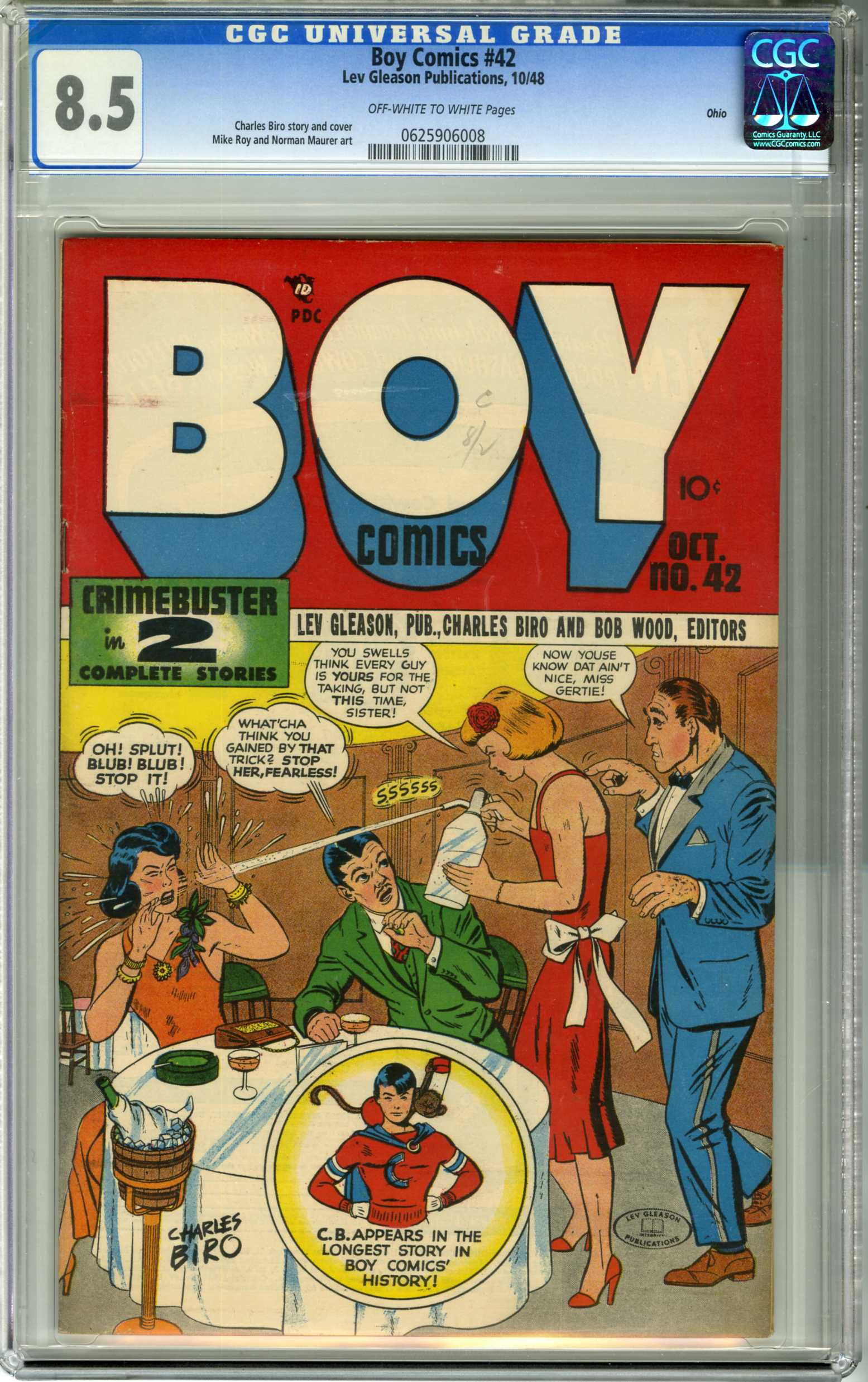 BOY COMICS #42 (1948) CGC VF+ 8.5 OWW Pages OHIO COPY / CHARLES BIRO COVER