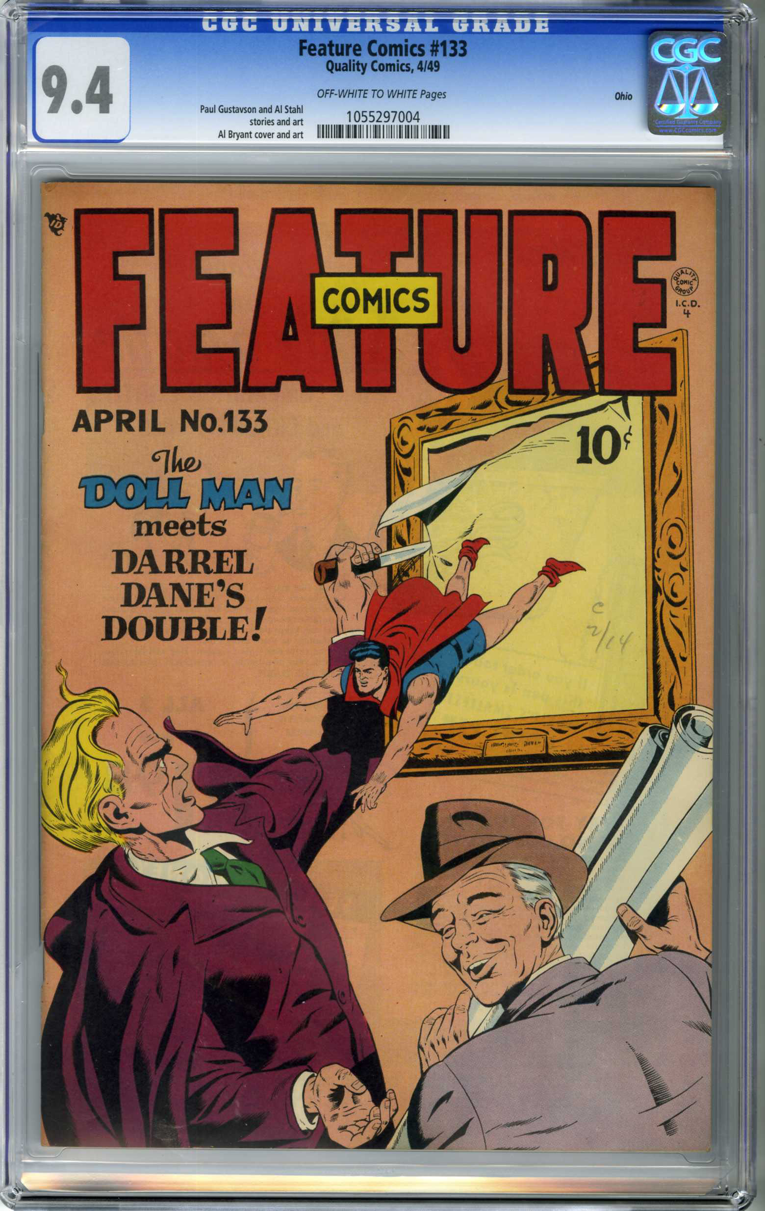 FEATURE COMICS #133 (1949) CGC NM 9.4 OWW Pages / OHIO PEDIGREE / DOLL MAN COVER
