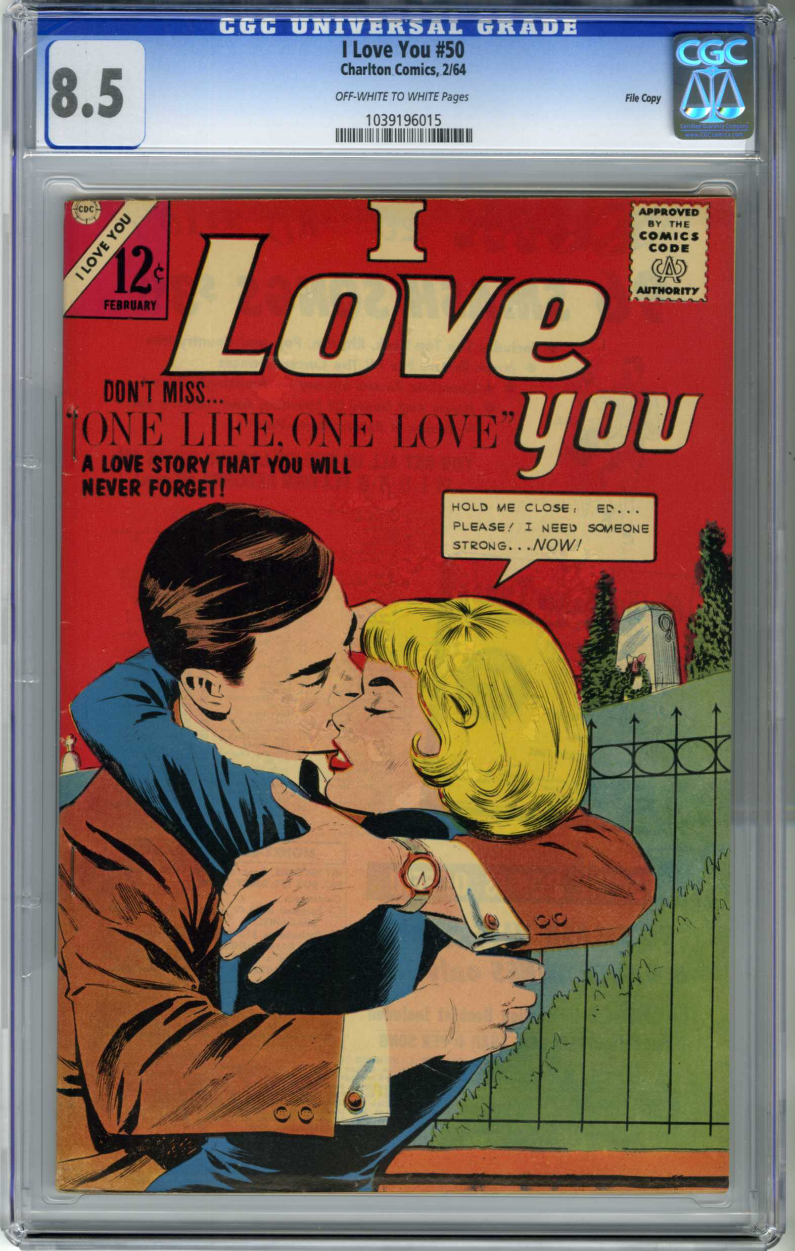 I LOVE YOU #50 (1964) CGC VF+ 8.5 OWW Pages / FILE COPY / ONE LIFE - ONE LOVE