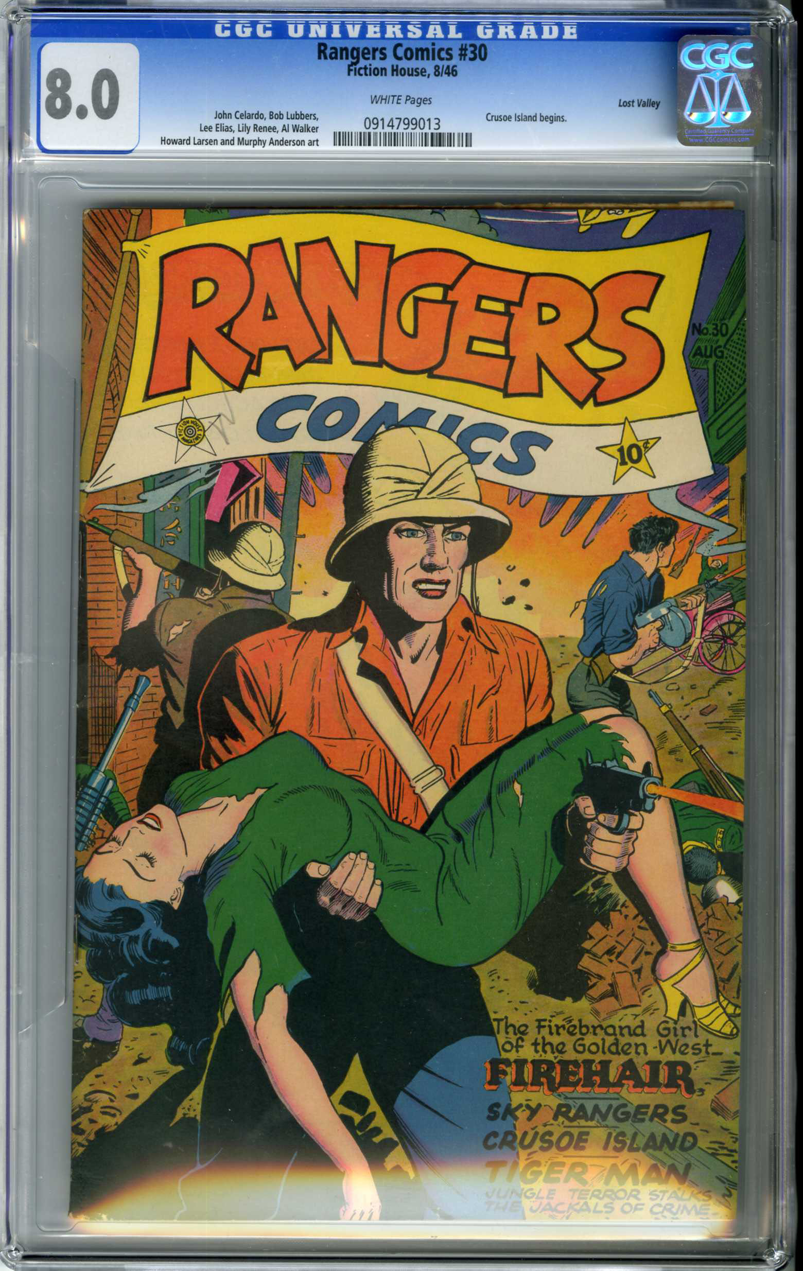 RANGERS COMICS #30 (1946) CGC VF 8.0 WHITE Pages / LOST VALLEY Pedigree FIREHAIR