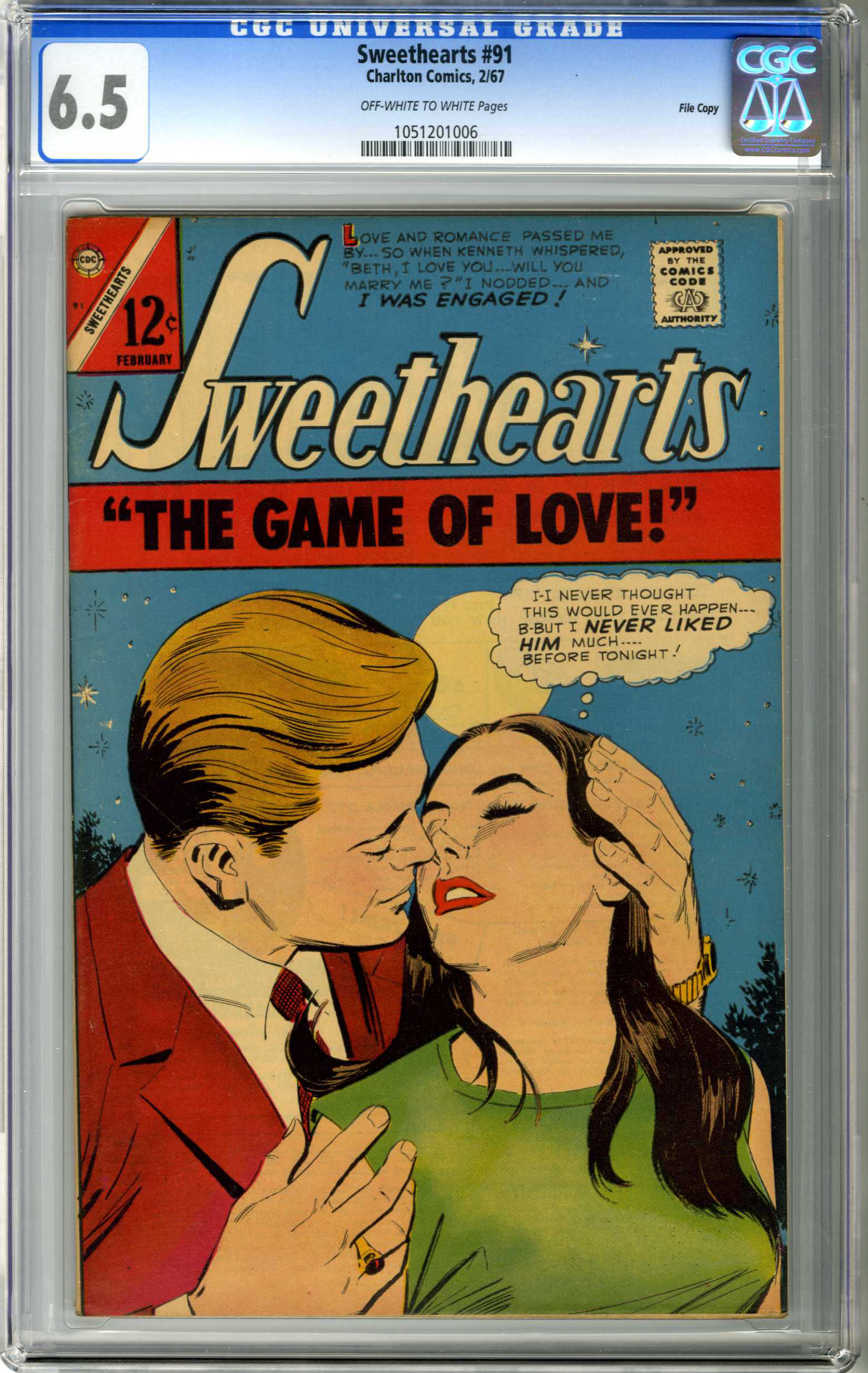 SWEETHEARTS #91 (1967) CGC FN+ 6.5 OWW Pages FILE COPY / GAME OF LOVE