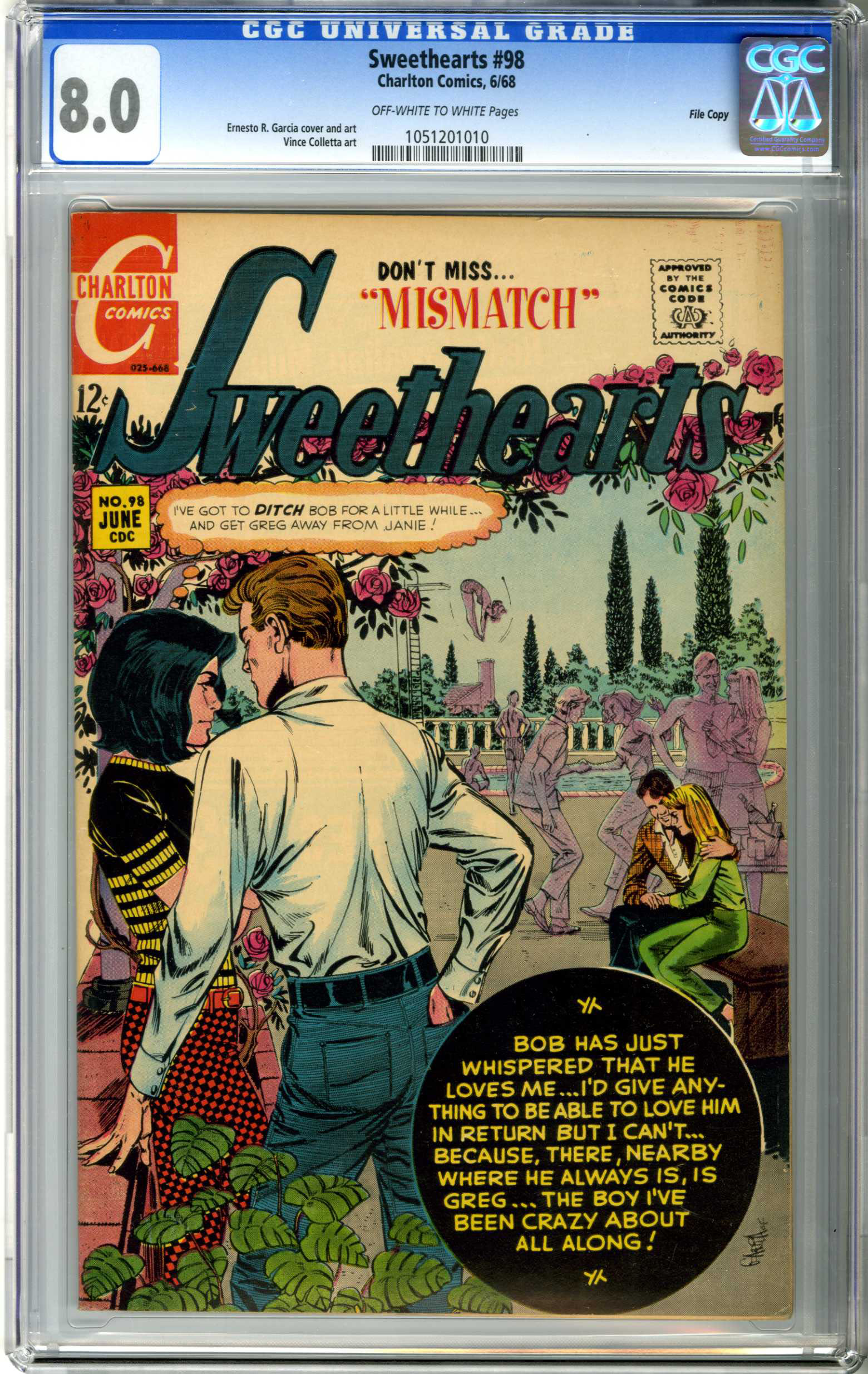 SWEETHEARTS #98 (1968) CGC VF 8.0 OWW Pages FILE COPY / MISMATCH