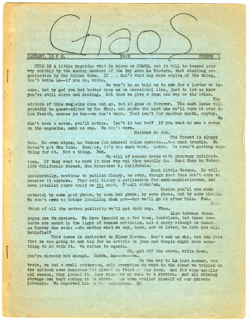 CHAOS #1 EARLY SCIENCE FICTION FANZINE (1944)
