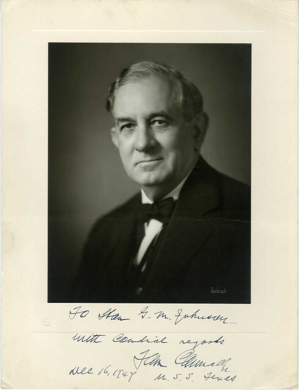 TOM CONNALLY (TEXAS SENATOR / DEMOCRAT) - SIGNED POLITICAL PRINTED PHOTO 1947