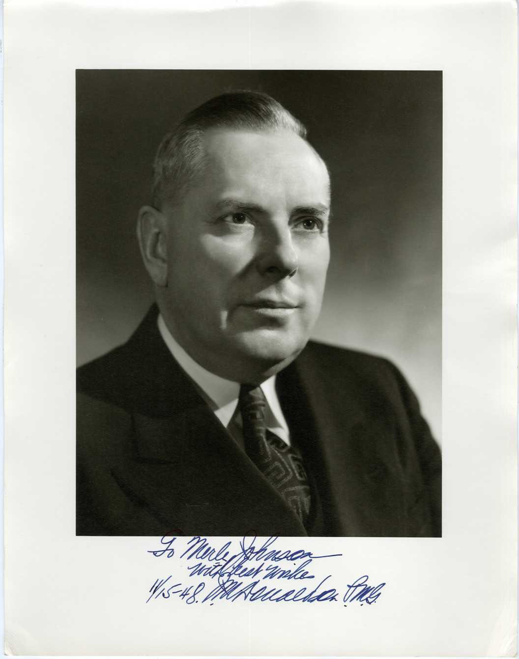 J.M. DONALDSON (POSTMASTER GENERAL) - SIGNED POLITICAL PRINTED PHOTO 1950s