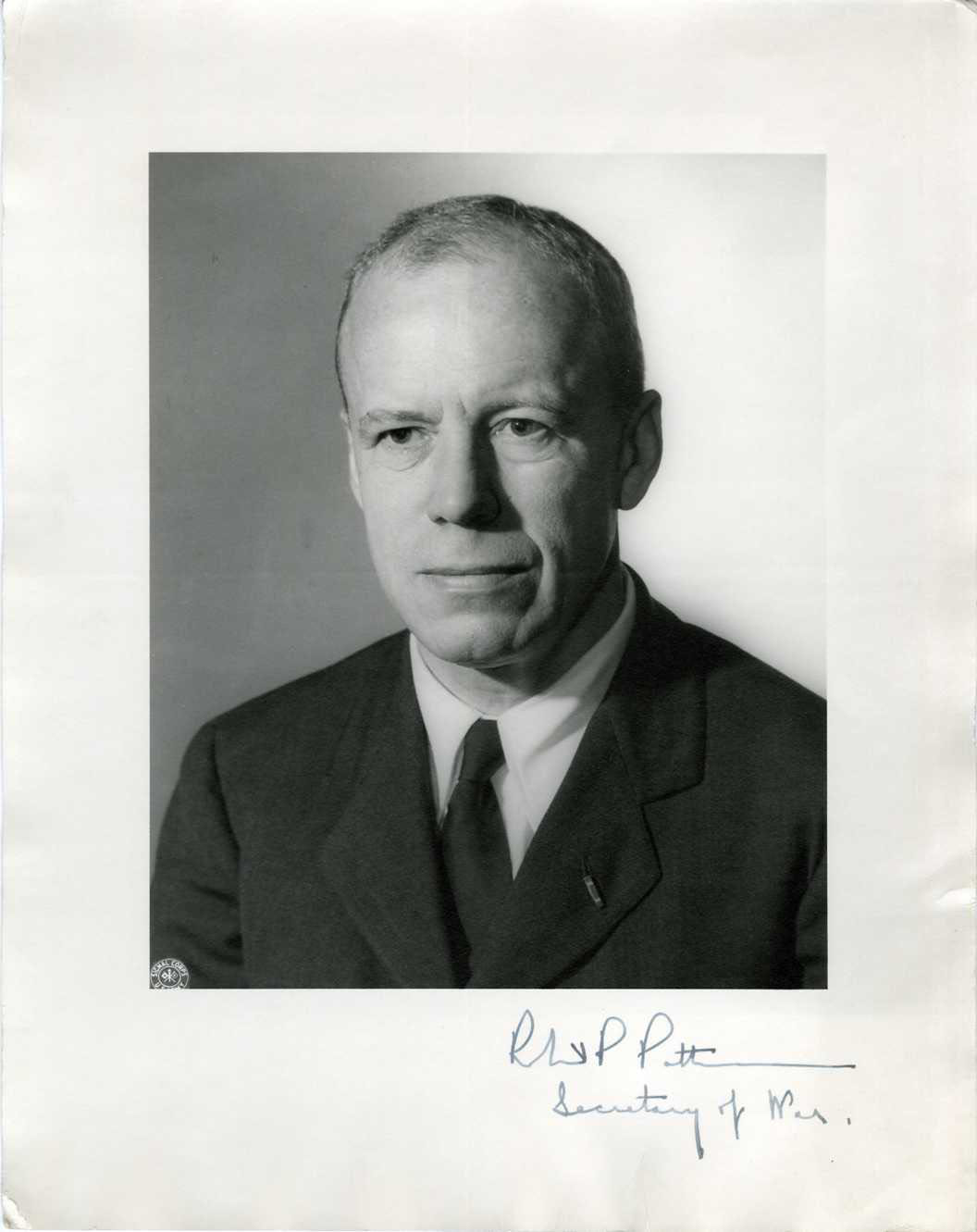 ROBERT P. PATTERSON (SECRETARY OF WAR) - SIGNED POLITICAL PRINTED PHOTO 1940s