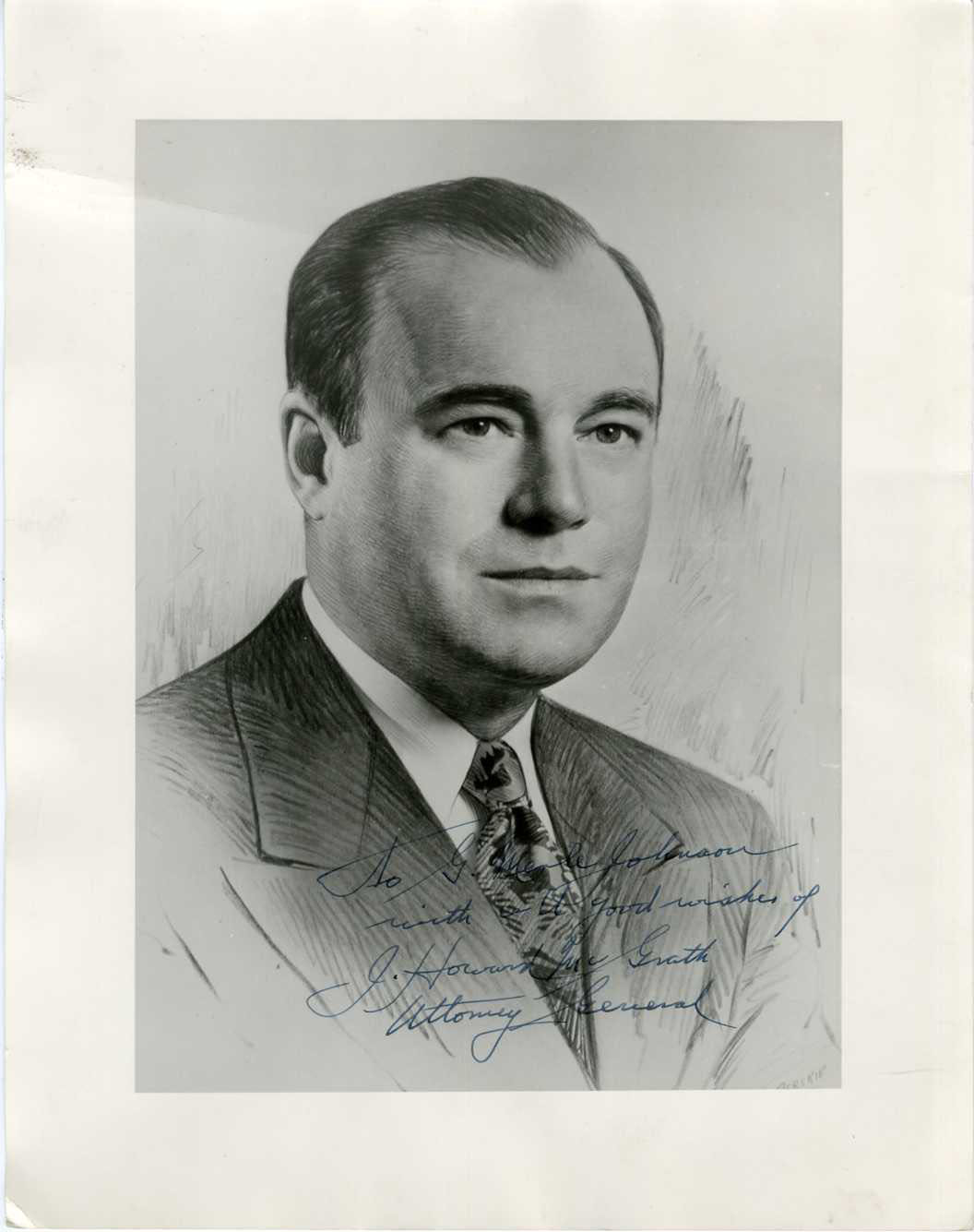 J. HOWARD McGRATH (ATTORNEY GENERAL) - SIGNED POLITICAL PRINTED PHOTO c1950s