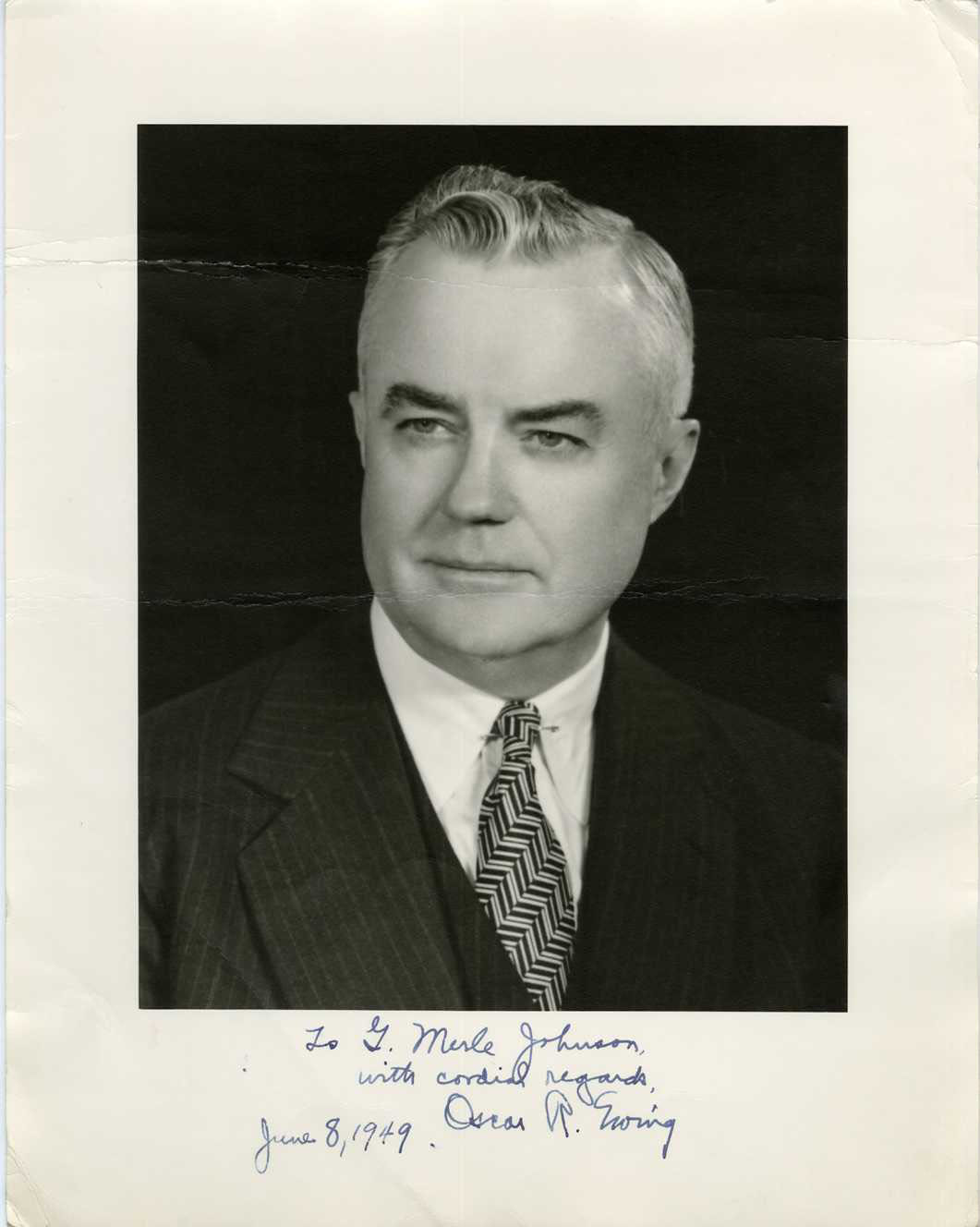 OSCAR R. EWING (FEDERAL SECURITY ADMIN.) - SIGNED POLITICAL PRINTED PHOTO (1949)