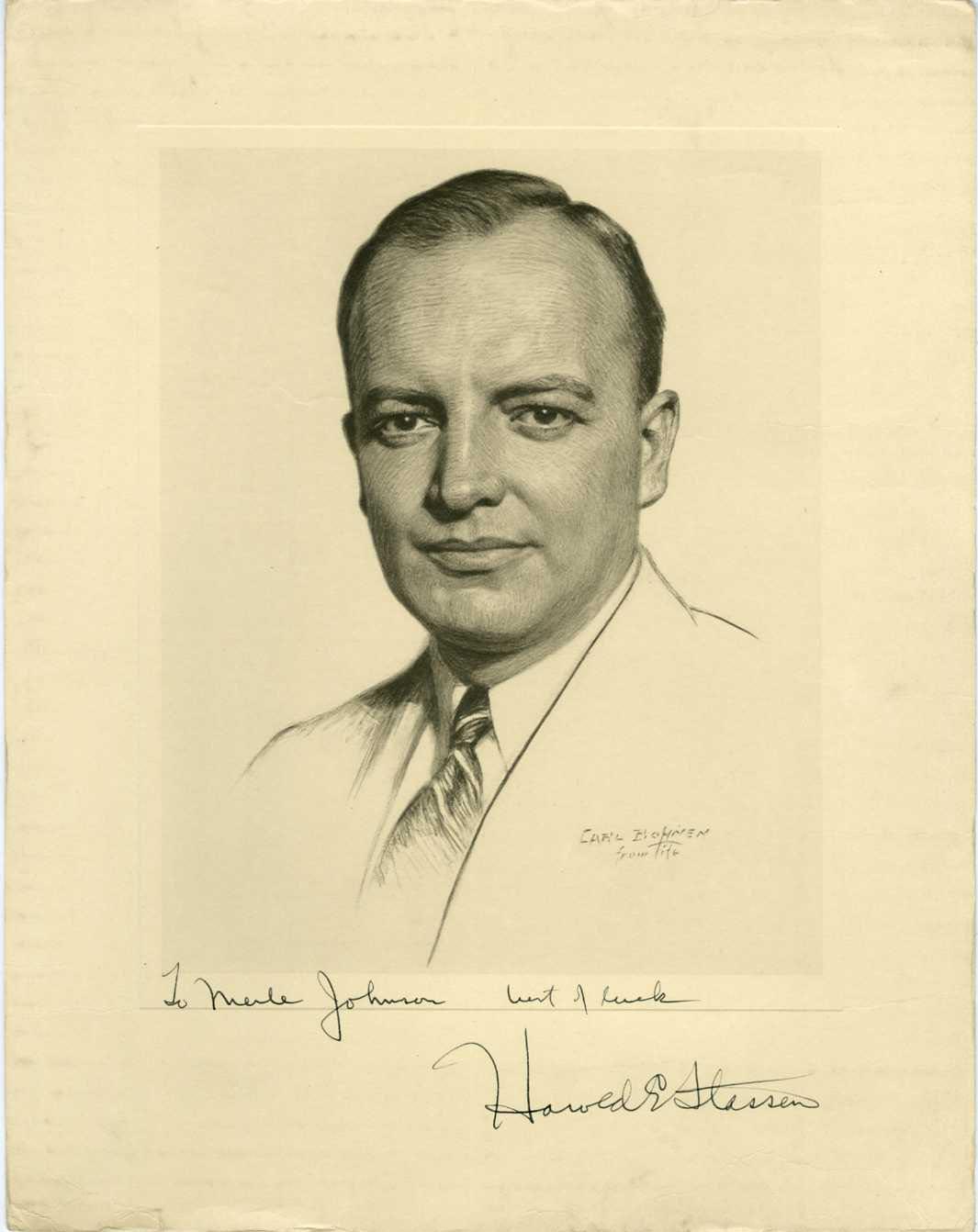 HAROLD E. STASSEN (GOVERNOR OF MINNESOTA) -SIGNED POLITICAL PRINTED PHOTO c1940s