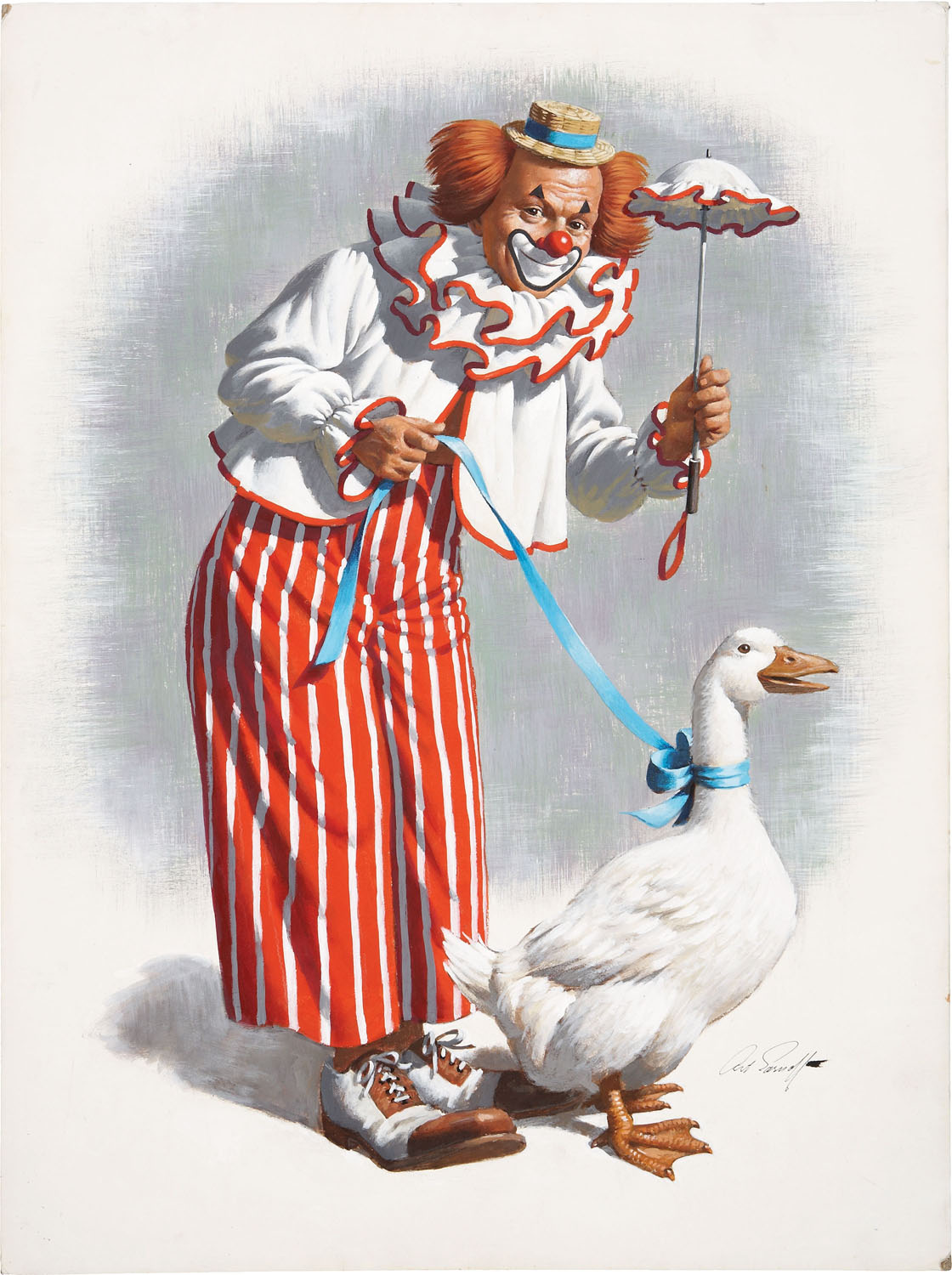 ARTHUR SARNOFF - CLOWN WITH GOOSE ILLUSTRATION ORIGINAL ART