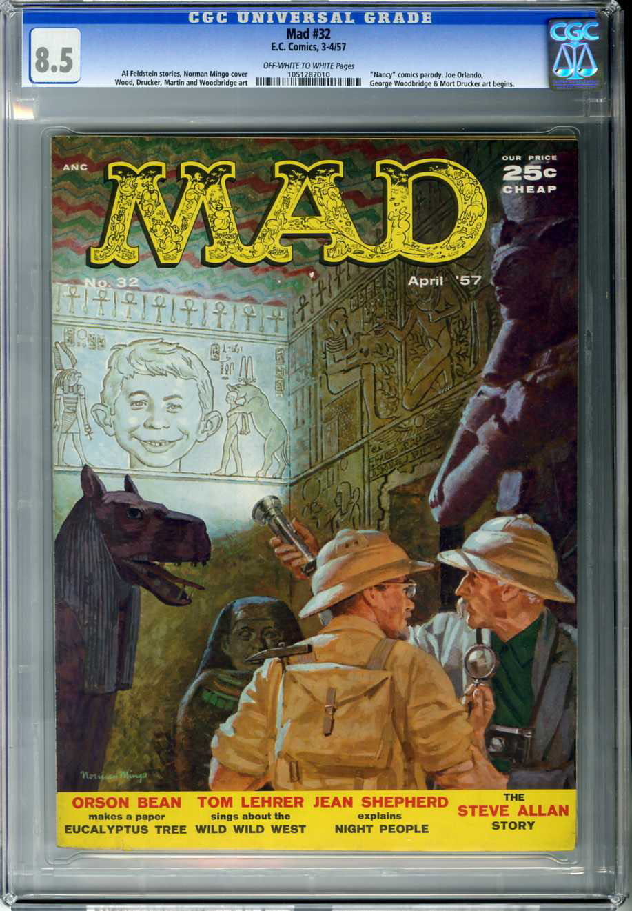 MAD #32 (1957) CGC VF+ 8.5 OWW Pages NORMAN MINGO COVER / WOODBRIDGE / DRUCKER