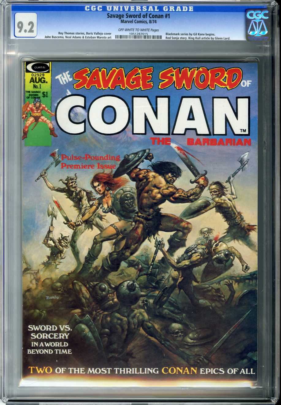 SAVAGE SWORD OF CONAN #1 (1974) CGC NM- 9.2 OWW Pages BORIS VALLEJO COVER