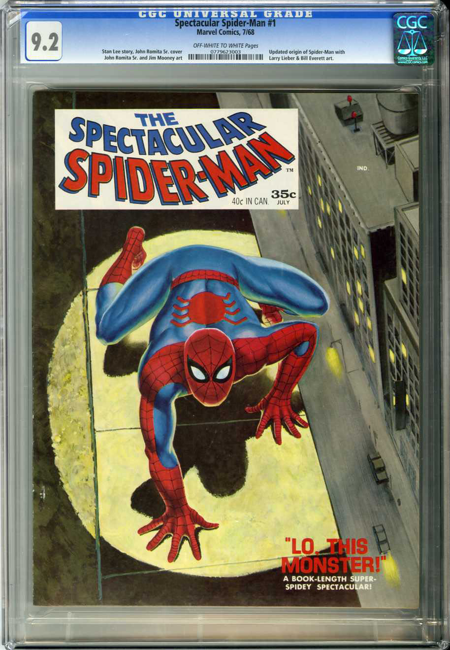 SPECTACULAR SPIDER-MAN #1 (1968) CGC NM- 9.2 OWW Pages / JOHN ROMITA COVER
