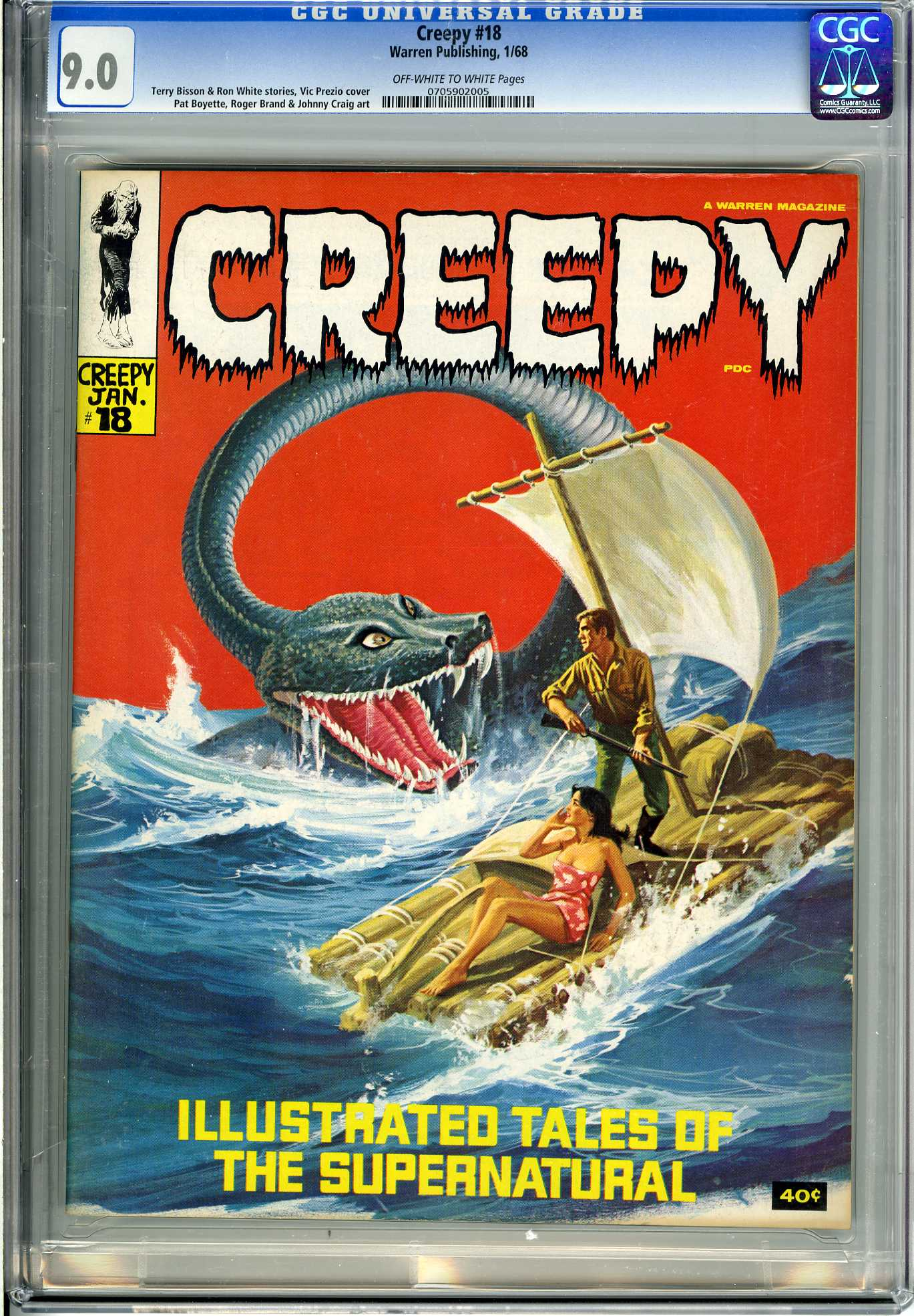 CREEPY #18 (1968) CGC VF/NM 9.0 - OWW Pgs - SUPERNATURAL