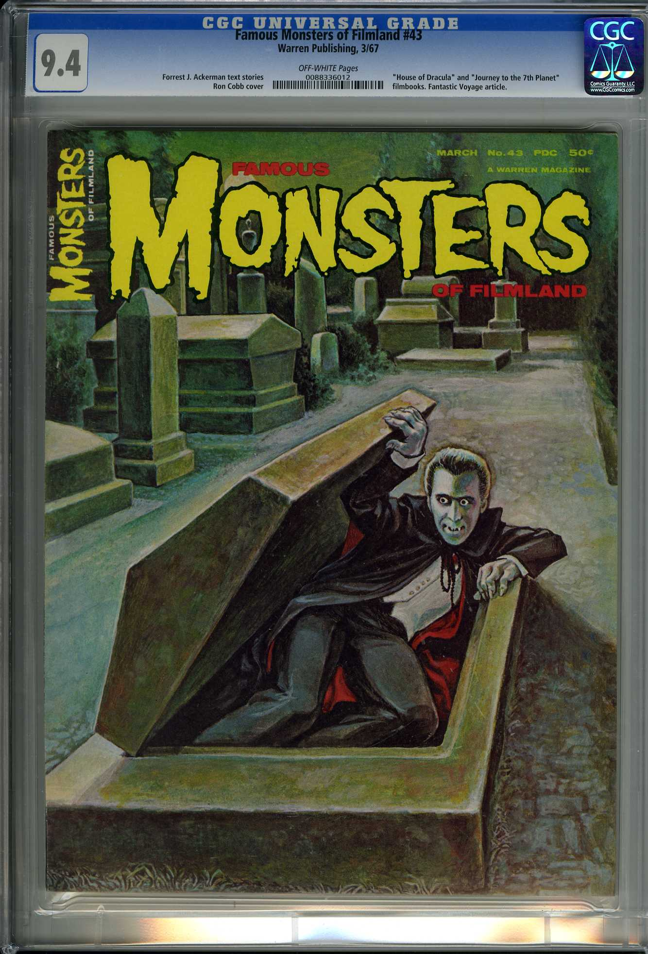 FAMOUS MONSTERS OF FILMLAND #43 1967 CGC NM 9.4 OW DRACULA - JOURNEY 7TH PLANET