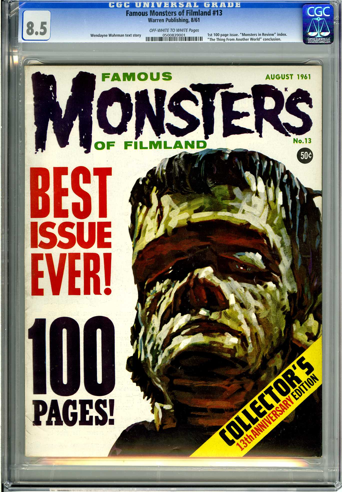 FAMOUS MONSTERS OF FILMLAND #13 (1961) CGC VF+ 8.5 - OWW Pgs - MONSTERS IN REVIEW