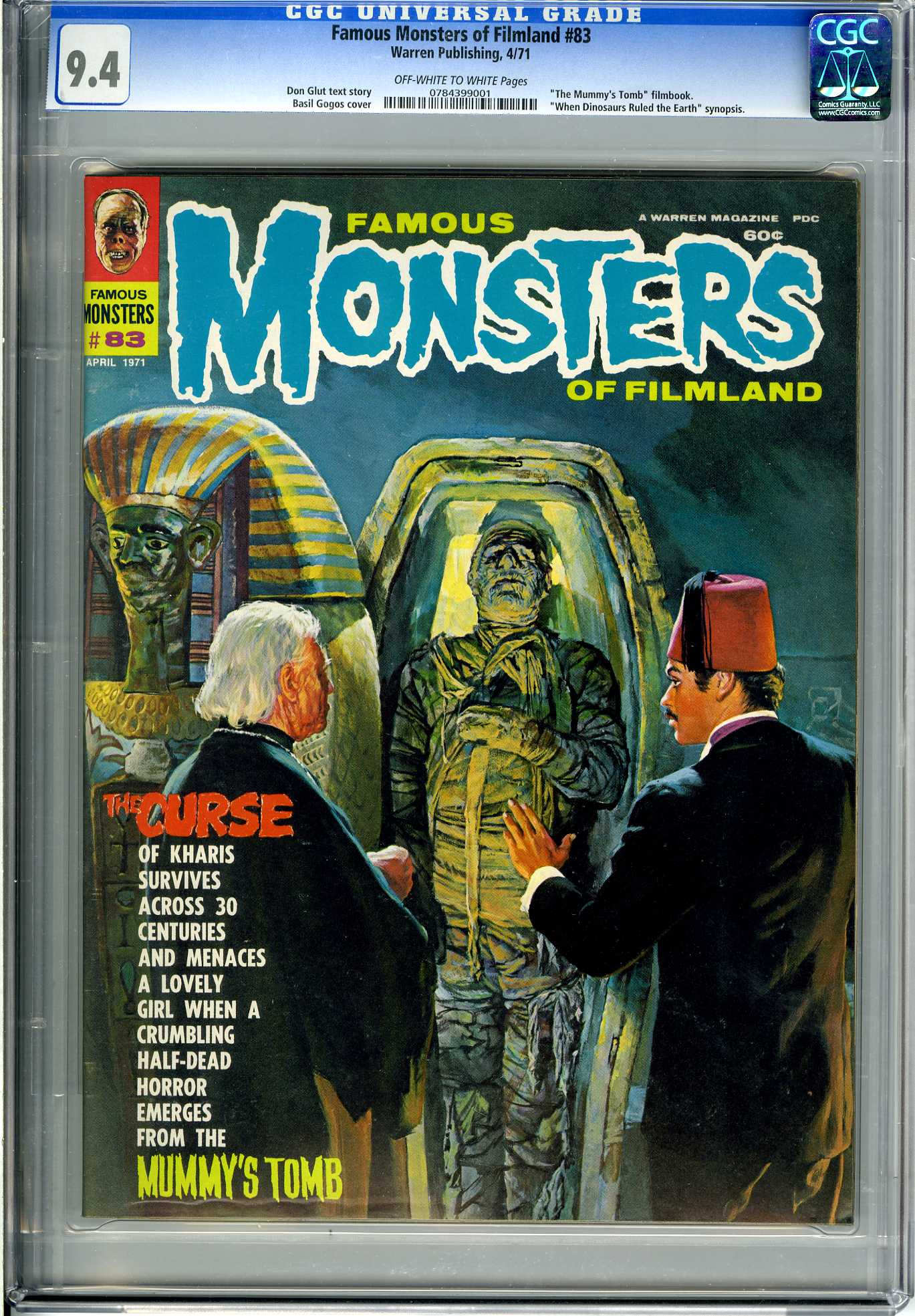 FAMOUS MONSTERS OF FILMLAND #83 (1971) CGC NM 9.4 OWW  WHEN DINOSAURS RULED EARTH