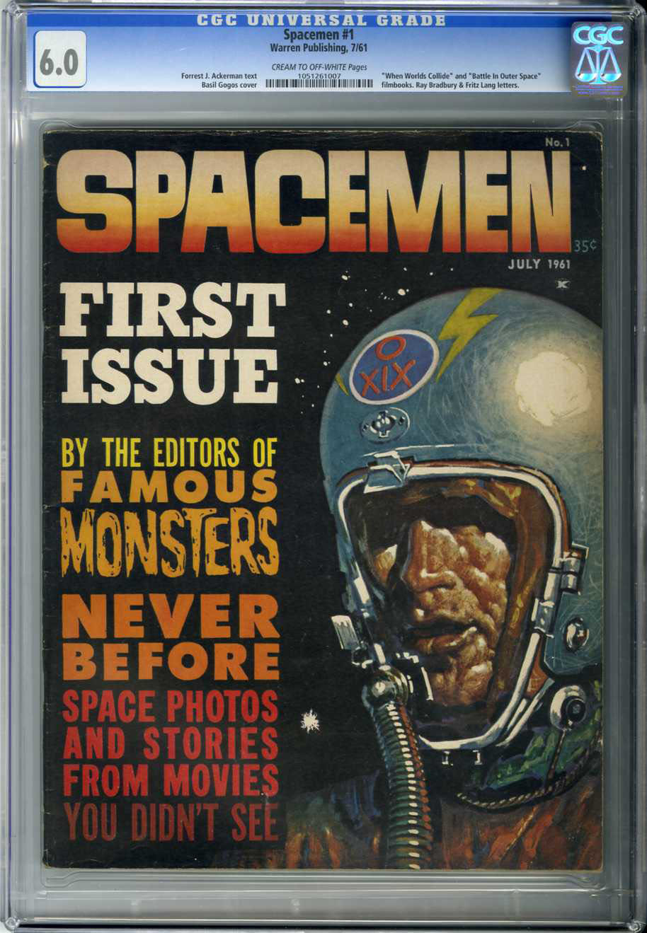 SPACEMAN #1 (1961) CGC FN 6.0 COW Pages / BASIL GOGOS COVER/ RAY BRADBURY LETTER