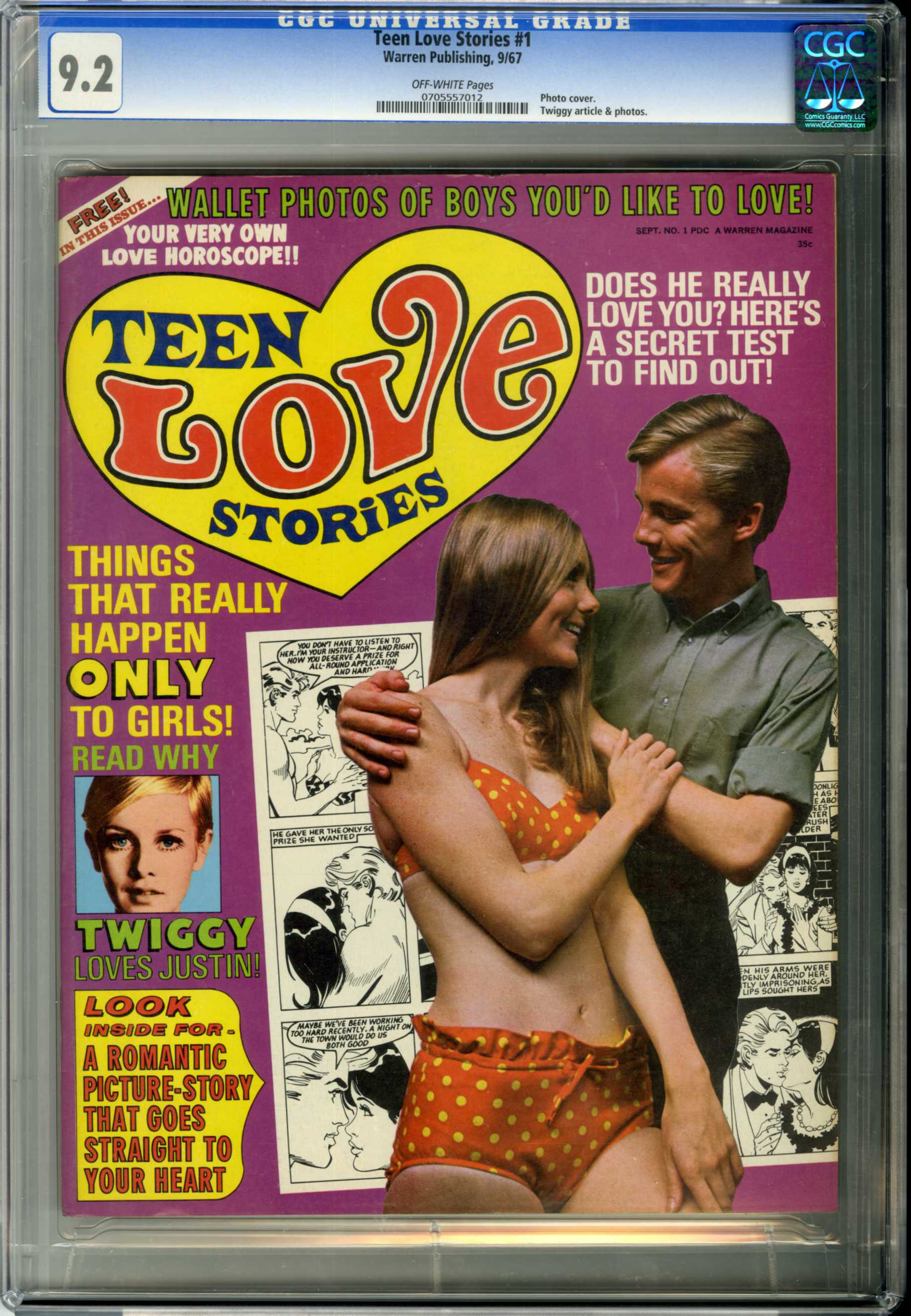 TEEN LOVE STORIES #1 (1967) CGC NM- 9.2 OW Pages PHOTO COVER / TWIGGY ARTICLE