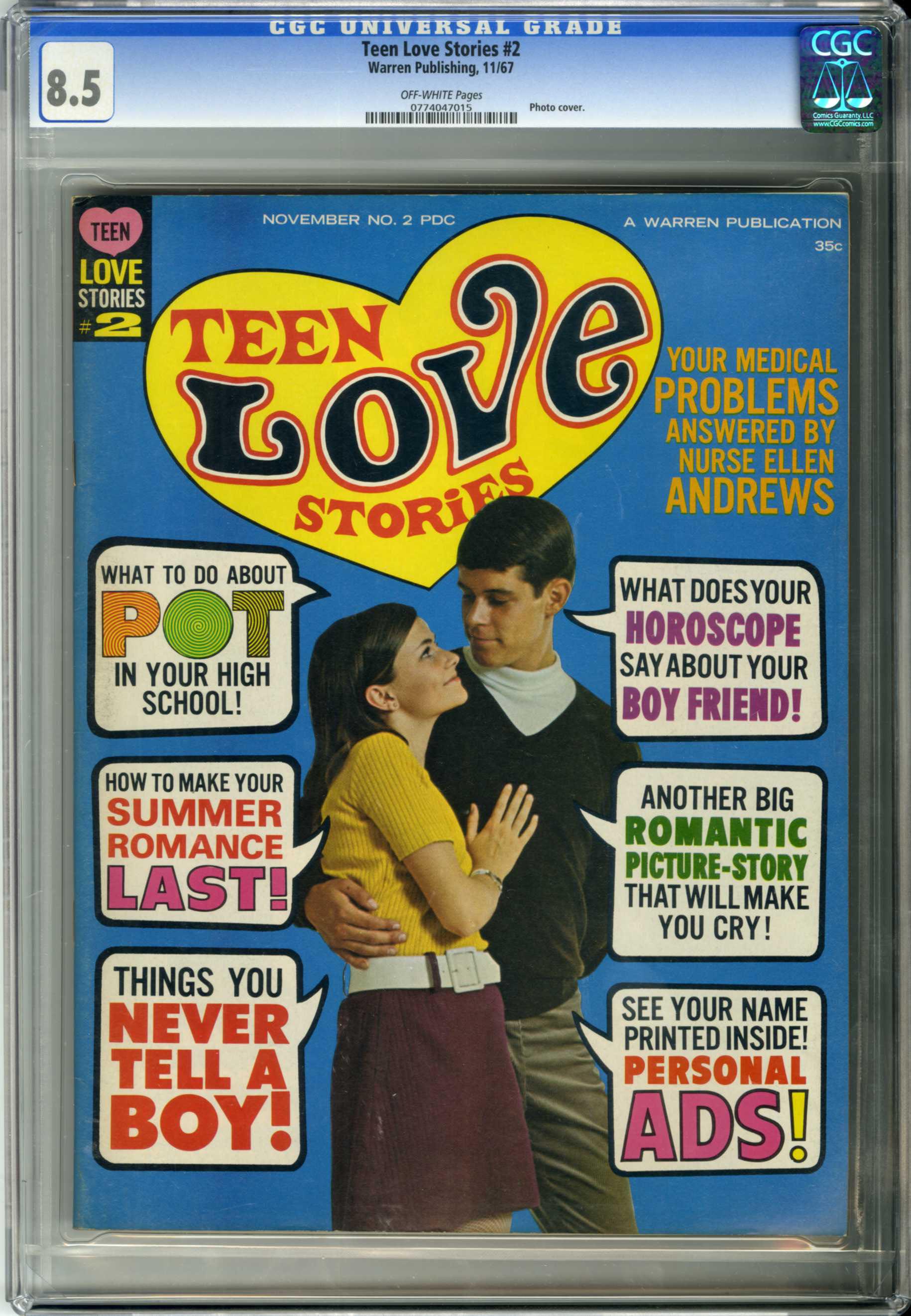 "TEEN LOVE STORIES #2 (1967) CGC VF+ 8.5 OW Pgs PHOTO CVR/MARIJUANA ""POT"" ARTICLE"