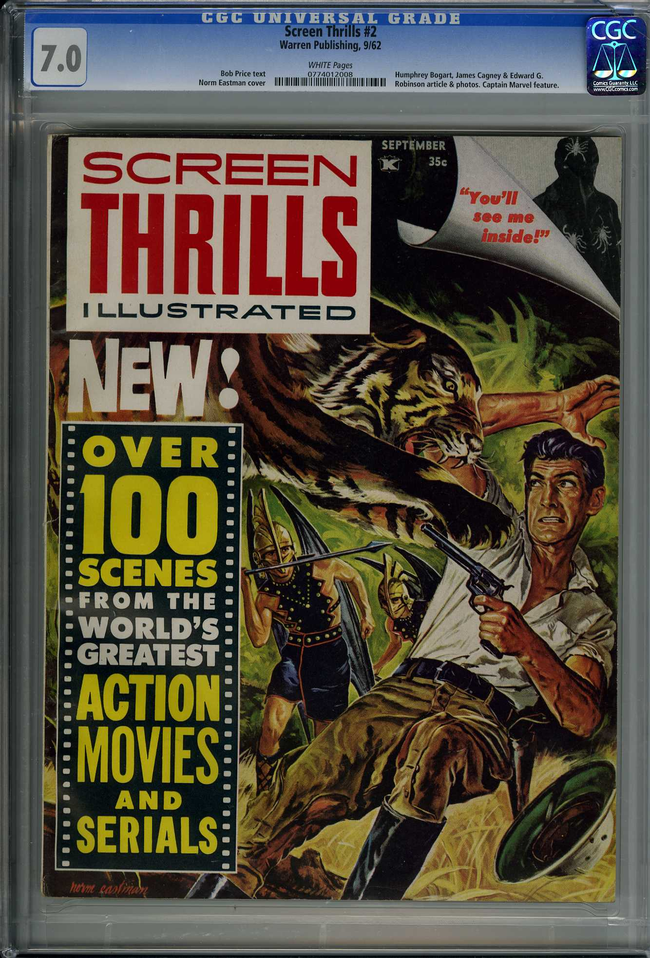 SCREEN THRILLS #2 (1962) CGC FN/VF 7.0 WHITE Pages - CAPTAIN MARVEL Feature