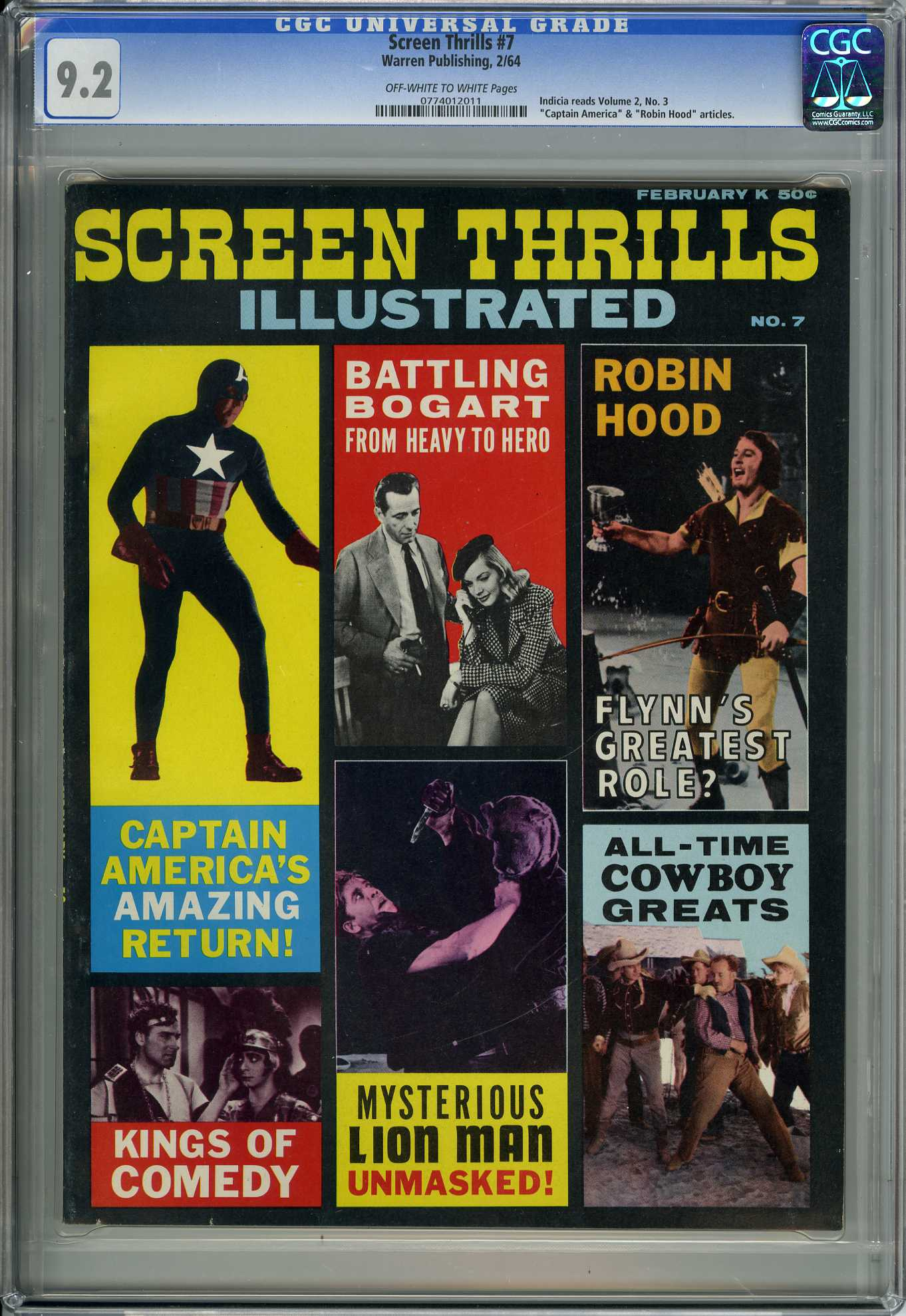 SCREEN THRILLS #7 (1964) CGC NM- 9.2 OWW Pgs - CAPTAIN AMERICA - ROBIN HOOD