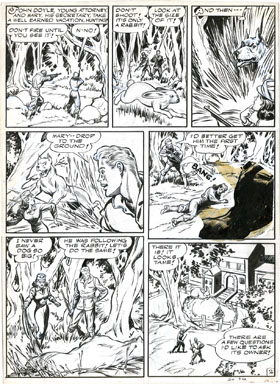 ARTURO CAZENEUVE - GREEN HORNET #13 (1943) ZEBRA STORY PAGE 2 ORIG ART - BIG DOG