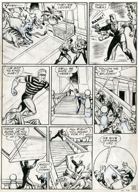 ARTURO CAZENEUVE - GREEN HORNET #13 ZEBRA STORY PG 8 ORIG ART ANIMAL ATTACK 1943