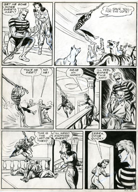 ARTURO CAZENEUVE - GREEN HORNET #13 ZEBRA STORY PG 9 ORIG ART BAD GUY RESCUE 1943