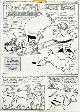 SHELDON MAYER - RUDOLPH THE RED-NOSED REINDEER PAGE 46 ORIGINAL ART / SANTA