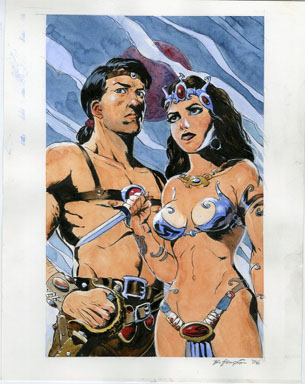 BO HAMPTON - JOHN CARTER OF MARS / DEJAH THORIS INK & WATERCOLOR ILLO ORIG ART