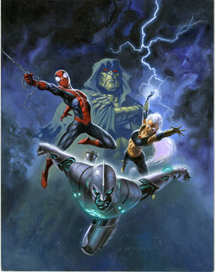 ALEX HORLEY - COMICS BUYER'S GUIDE COVER ORIGINAL ART w/PRELIM SKETCH SPIDER-MAN