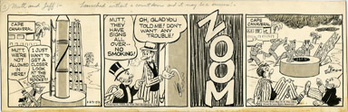 AL SMITH - MUTT AND JEFF DAILY STRIP ORIG ART 1-23-59 MOON ROCKET/CAPE CANAVERAL