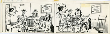 ROGER ARMSTRONG - NAPOLEON DAILY STRIP ORIG ART 11-10-59 VETERINARIAN / DOGS